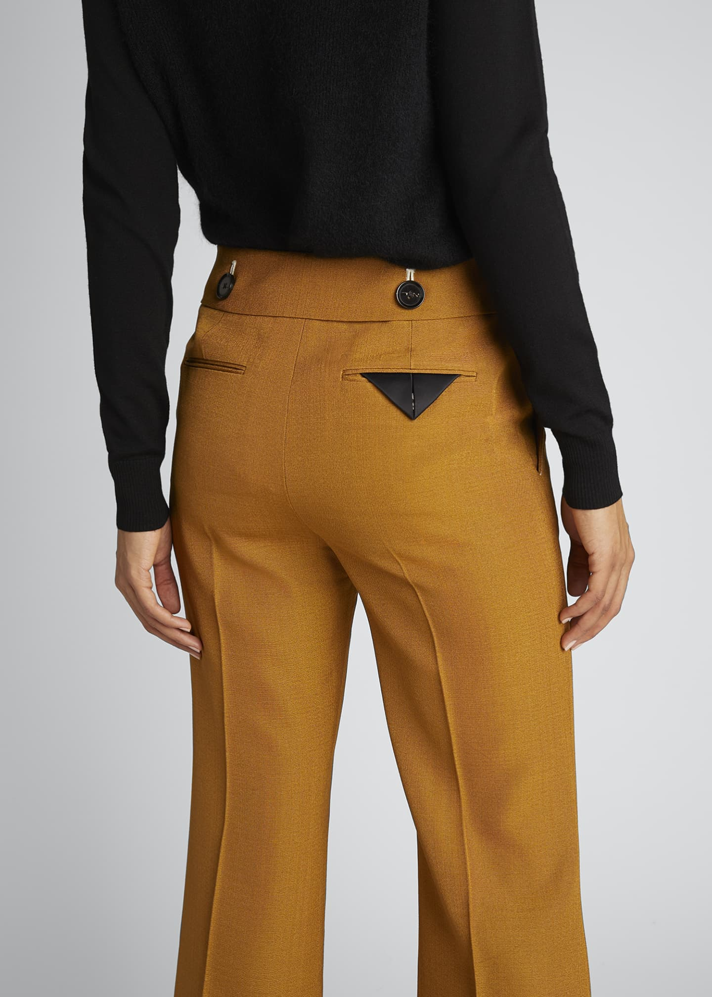 Image 3 of 4: Viscose Silk Suiting Crop Flare Pants