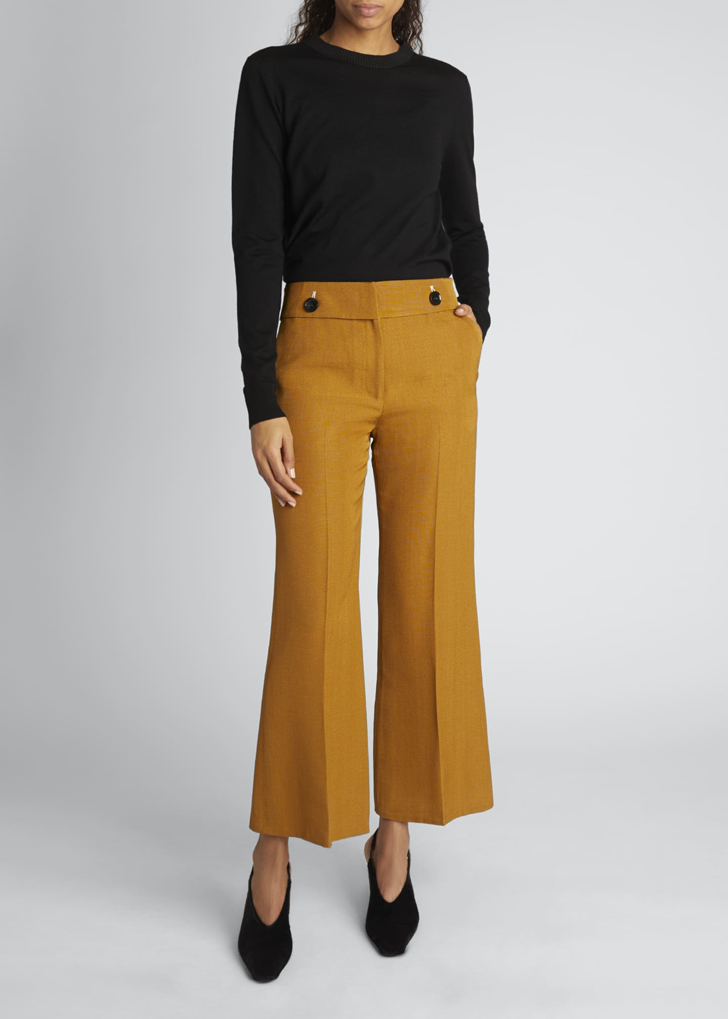 Image 1 of 4: Viscose Silk Suiting Crop Flare Pants