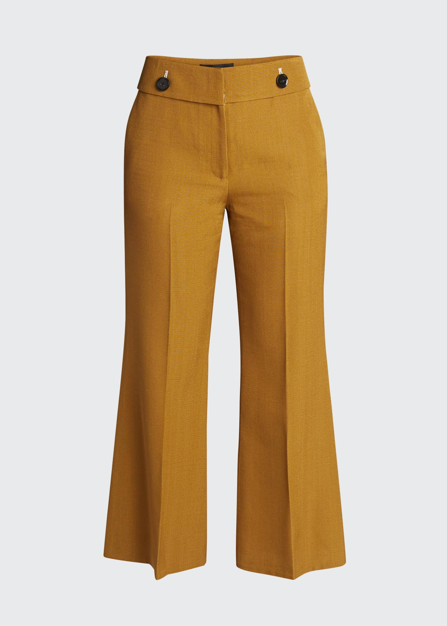 Image 4 of 4: Viscose Silk Suiting Crop Flare Pants