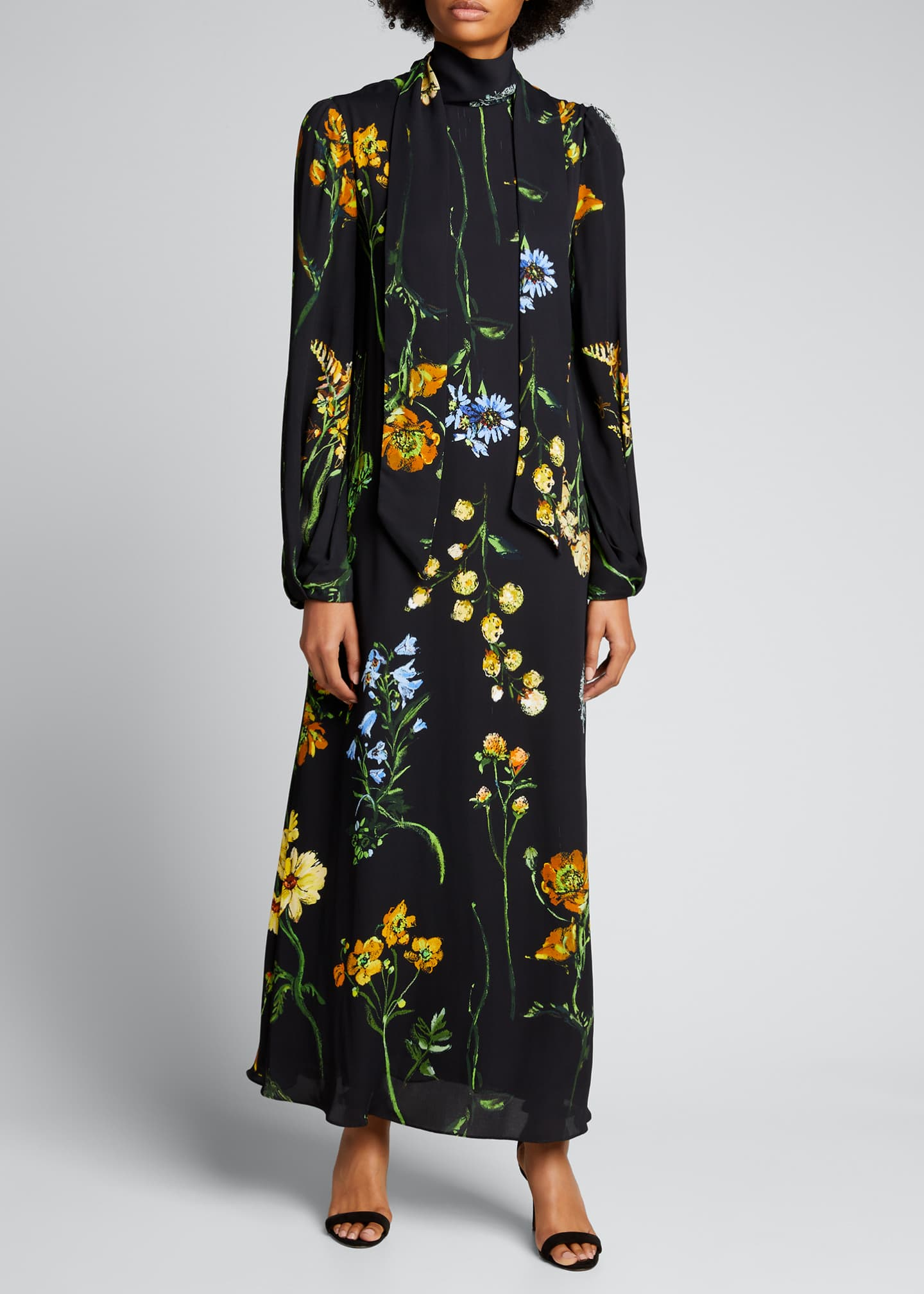 Image 1 of 4: Floral Georgette Maxi Dress