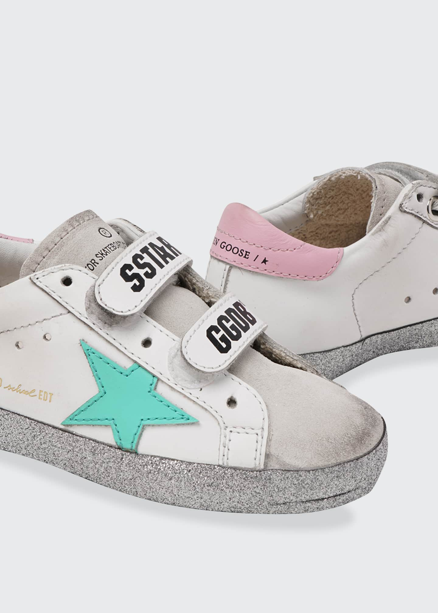 Image 2 of 2: Old School Leather Grip-Strap Glitter-Sole Sneakers, Toddler/Kids