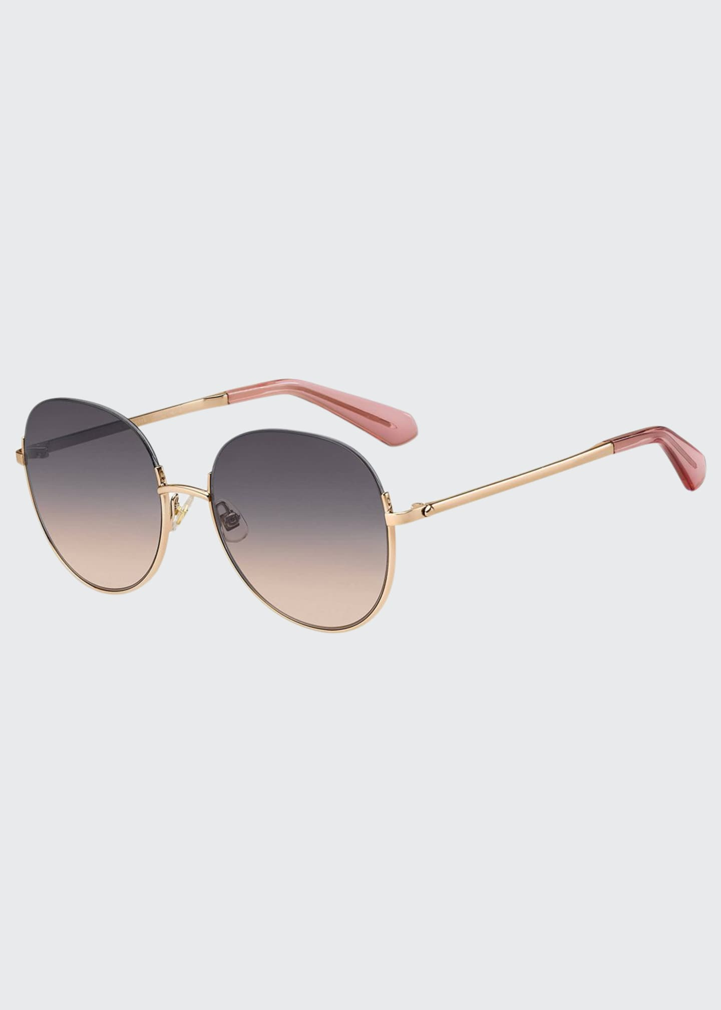 Image 1 of 1: astelle semi-rimless round stainless steel sunglasses