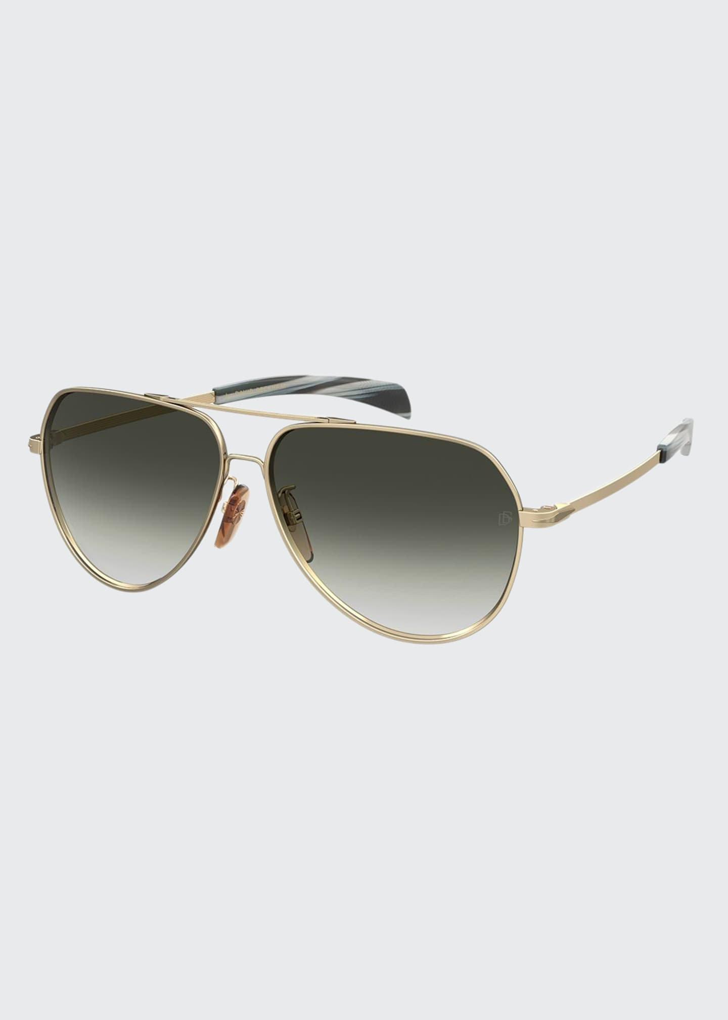 Image 1 of 1: Men's Metal Brow-Bar Aviator Sunglasses