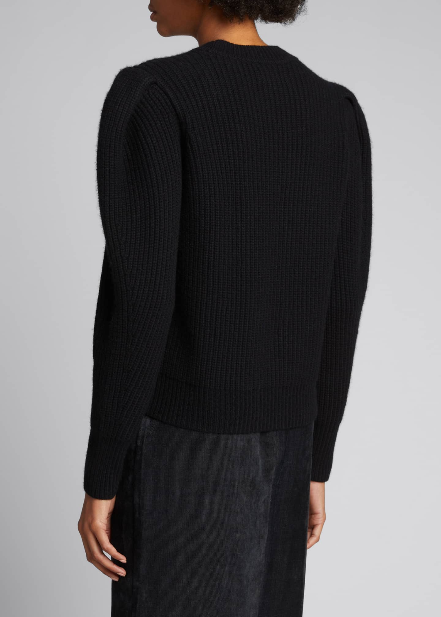Image 2 of 5: Puff-Sleeve Wool/Cashmere Sweater