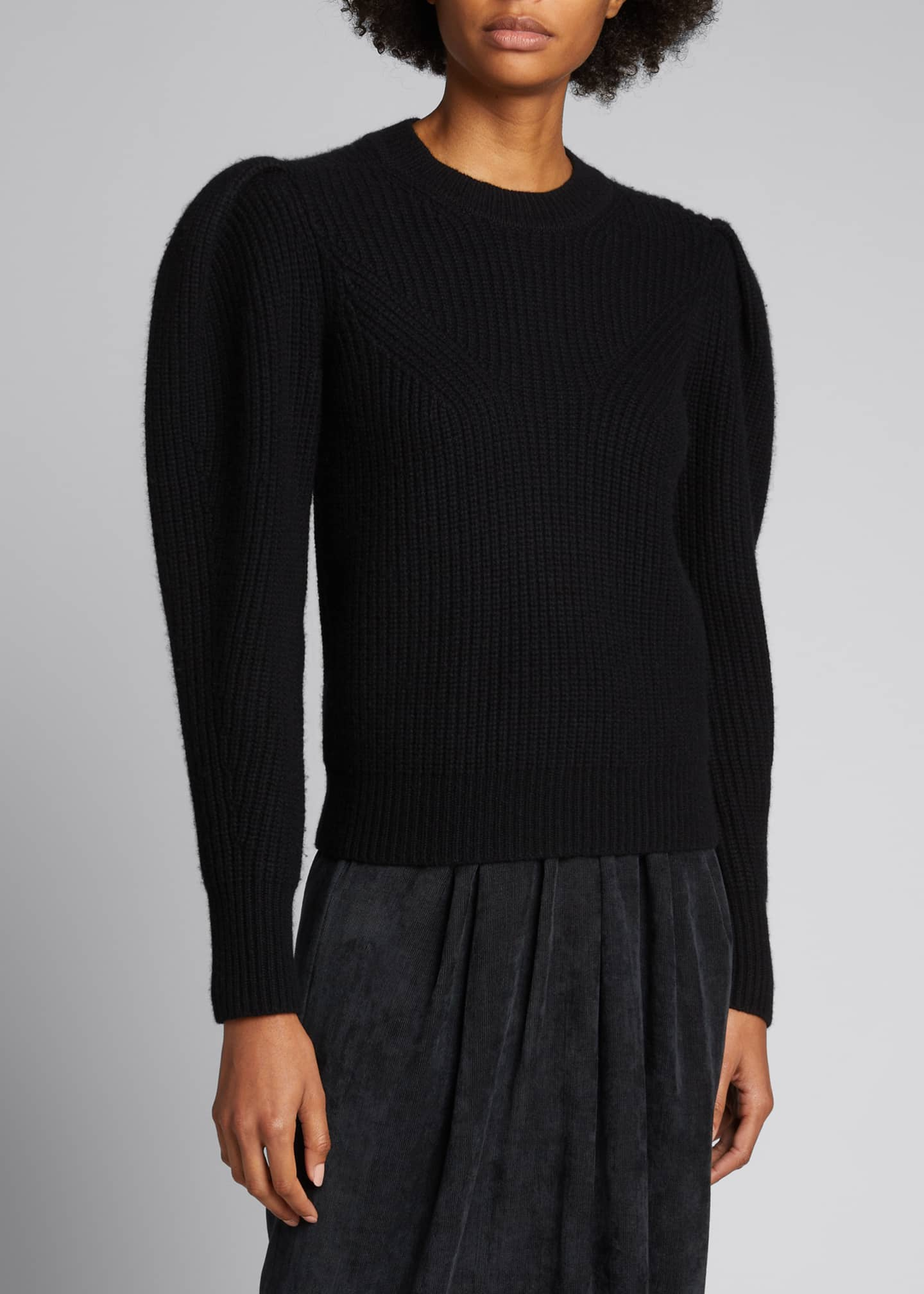 Image 3 of 5: Puff-Sleeve Wool/Cashmere Sweater