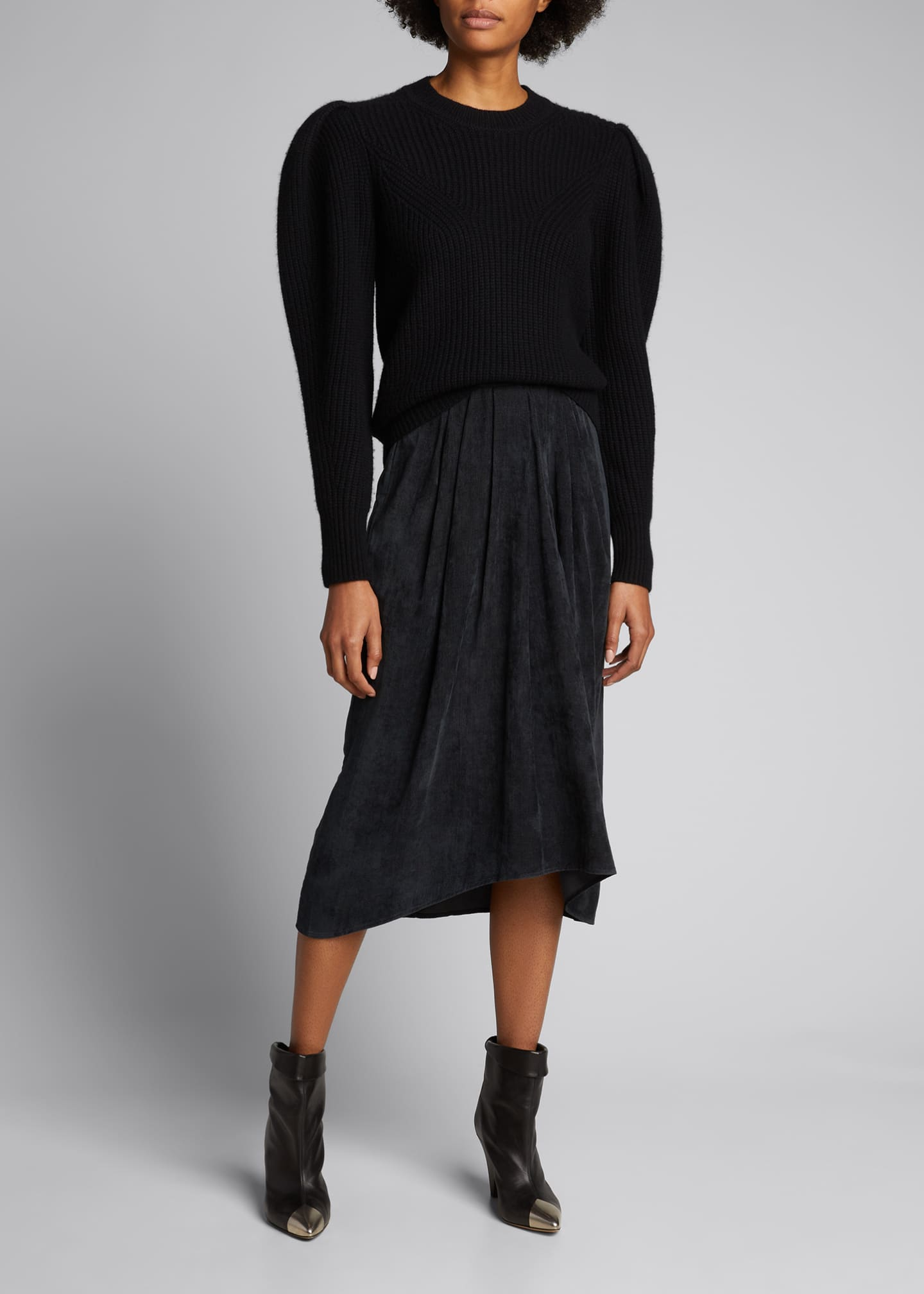 Puff-Sleeve Wool/Cashmere Sweater