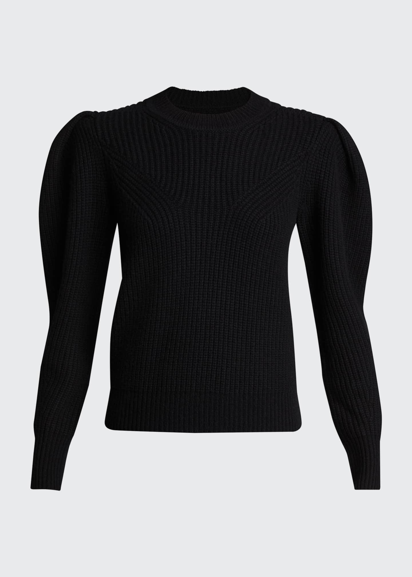 Image 5 of 5: Puff-Sleeve Wool/Cashmere Sweater