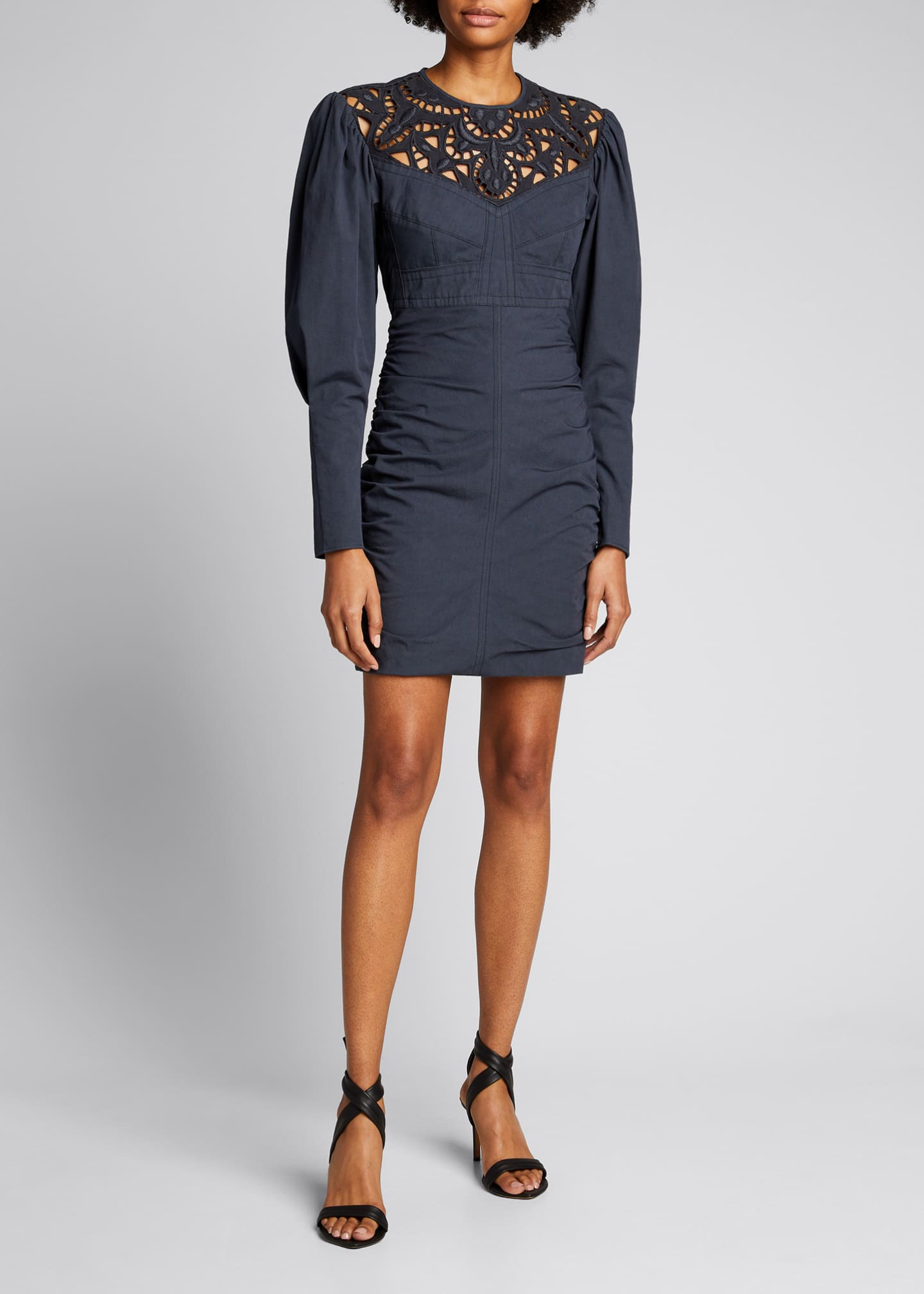 Image 3 of 5: Embroidered Cutout Ruched Mini Dress