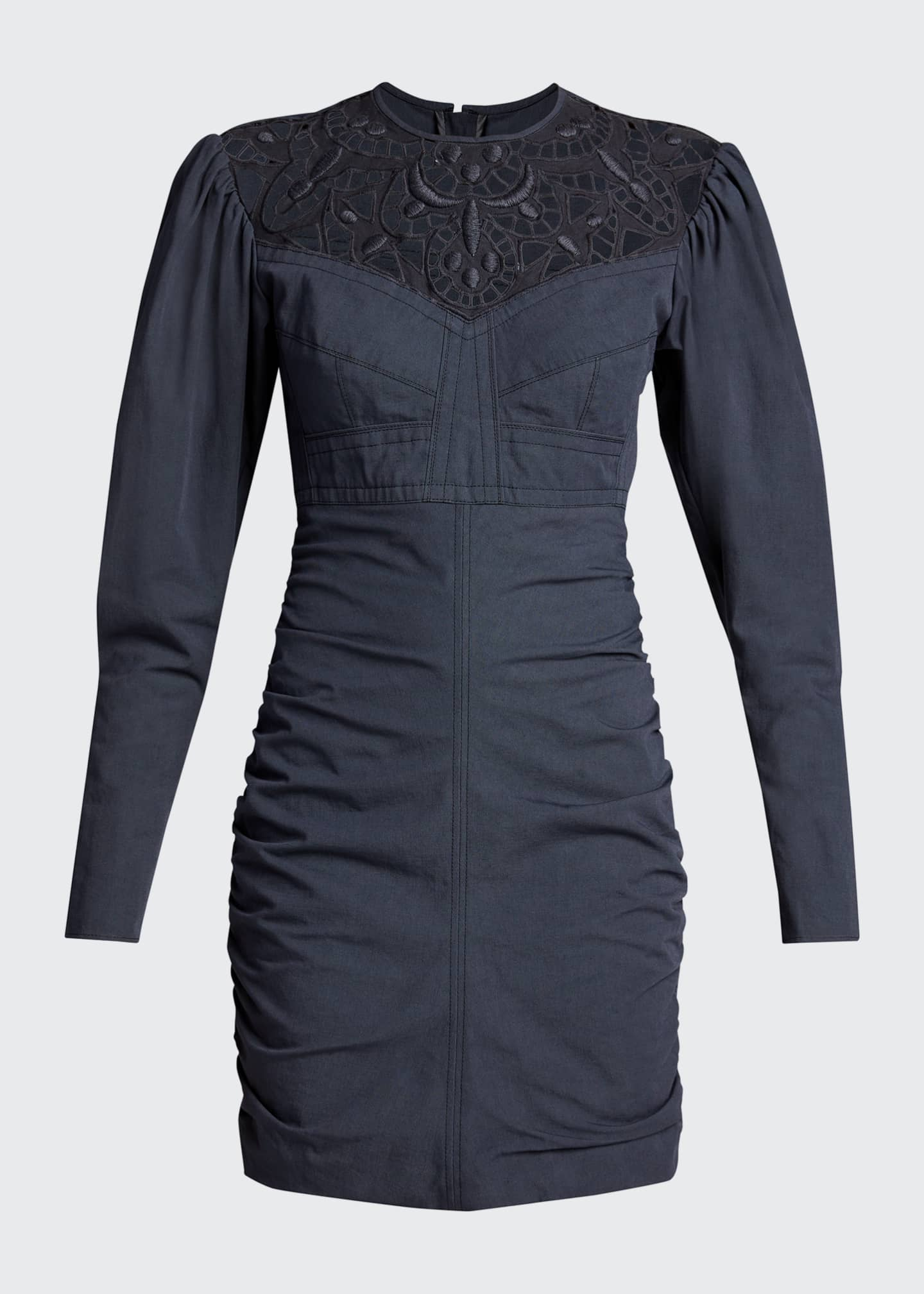 Image 5 of 5: Embroidered Cutout Ruched Mini Dress