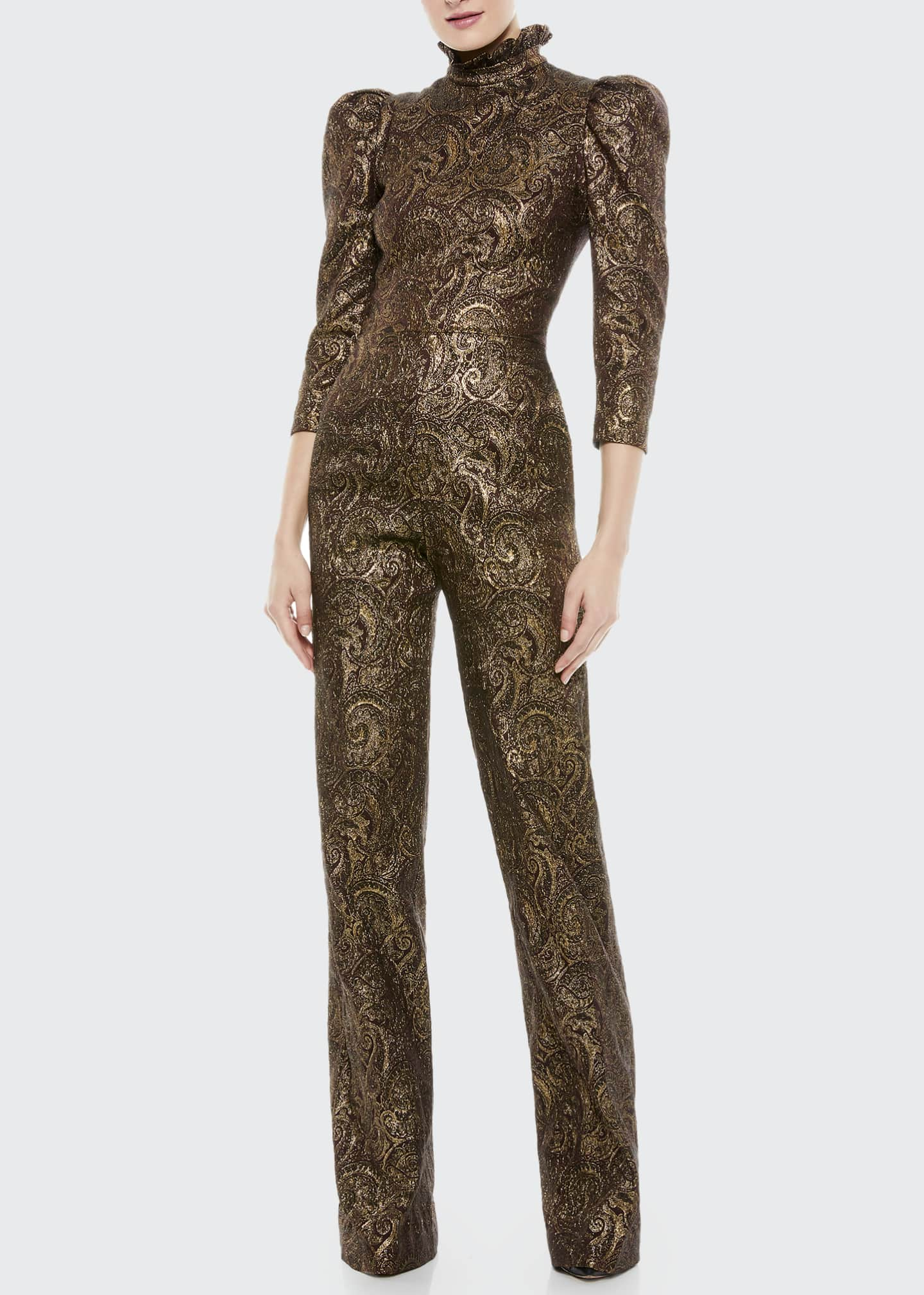 Image 1 of 4: Jorah Puff-Sleeve Wide-Leg Jumpsuit