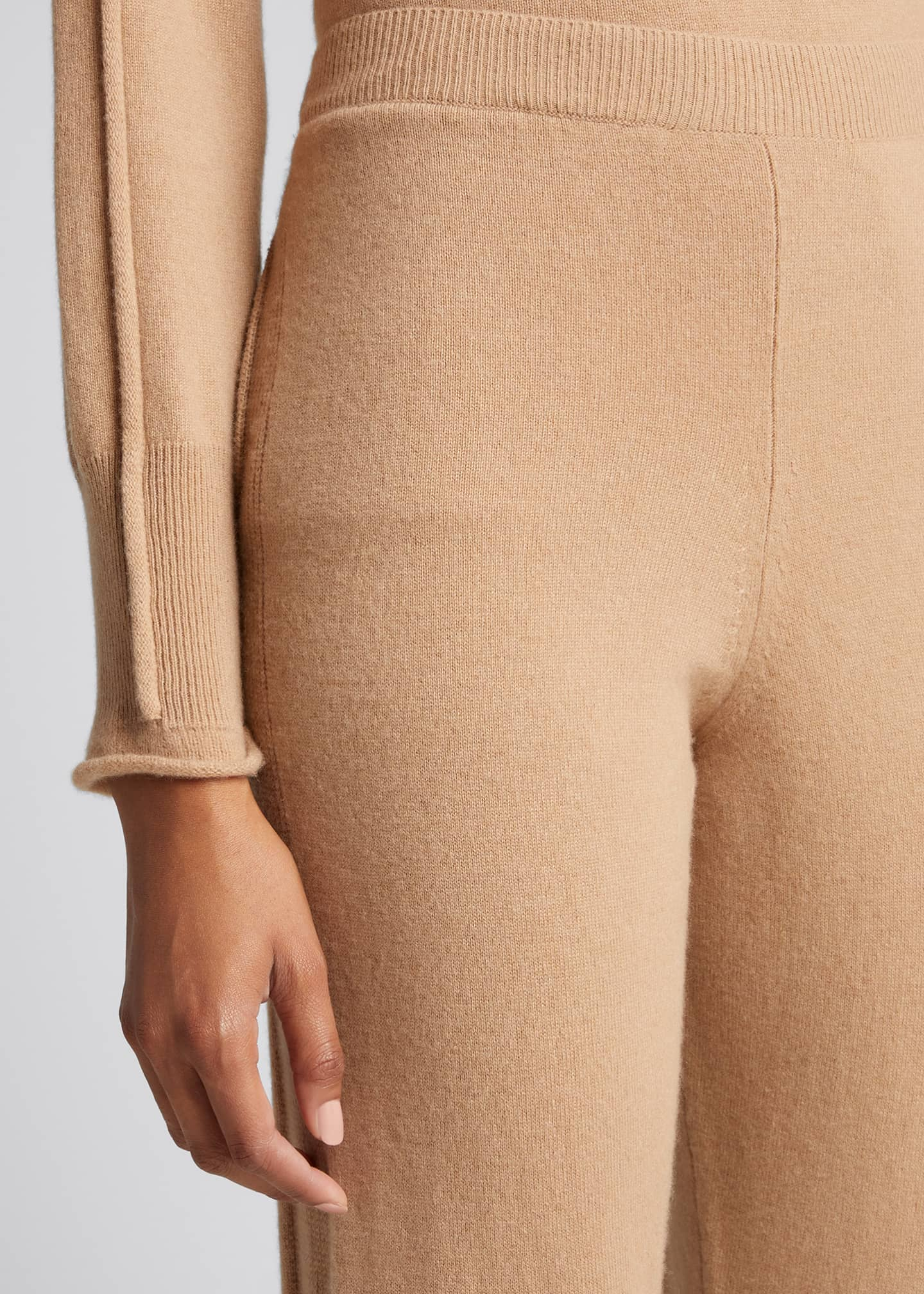 Image 4 of 5: Cashmere-Wool Ribbed Tapered Trousers