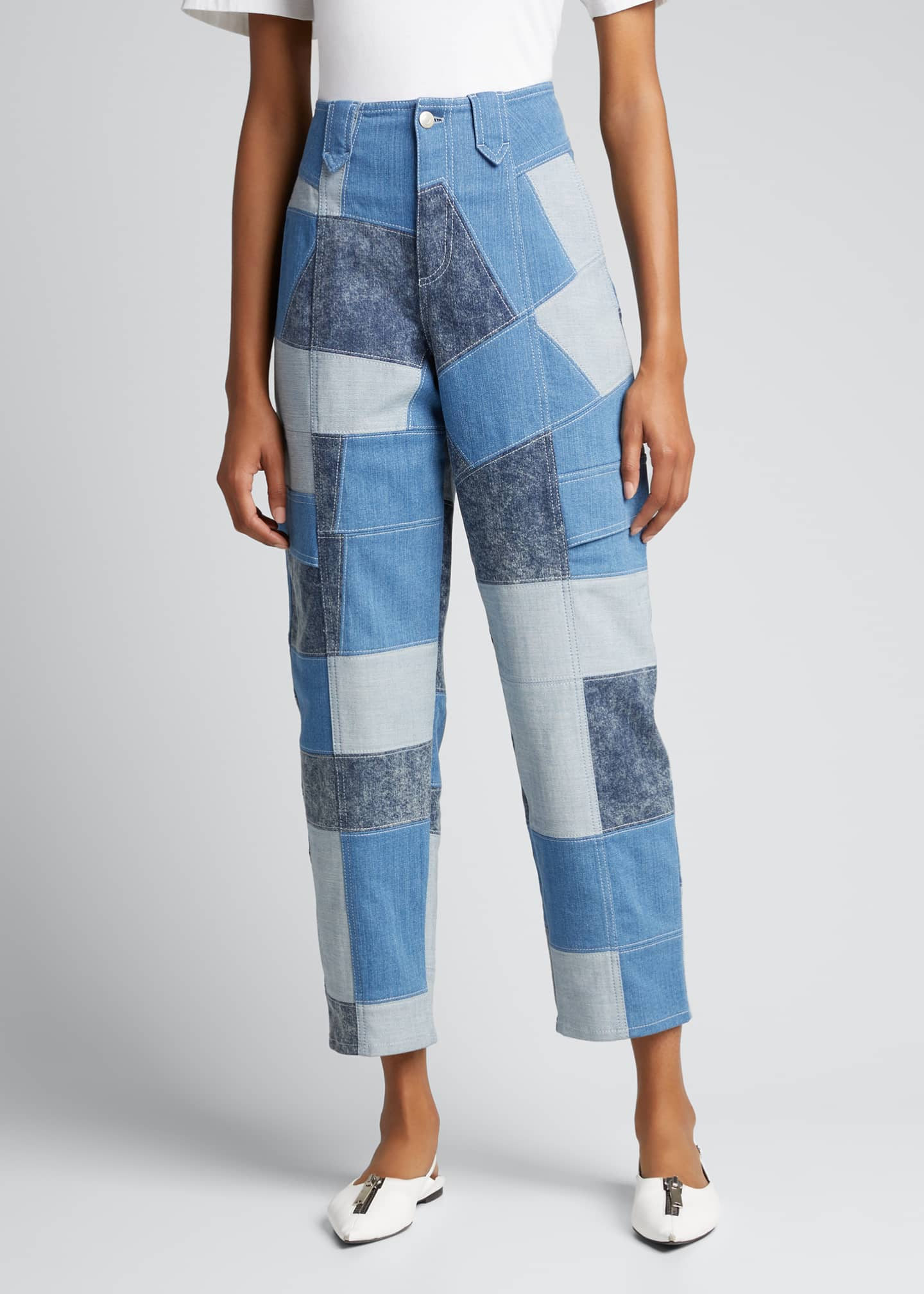 Image 3 of 5: Patchwork Safari Cropped Denim Pant