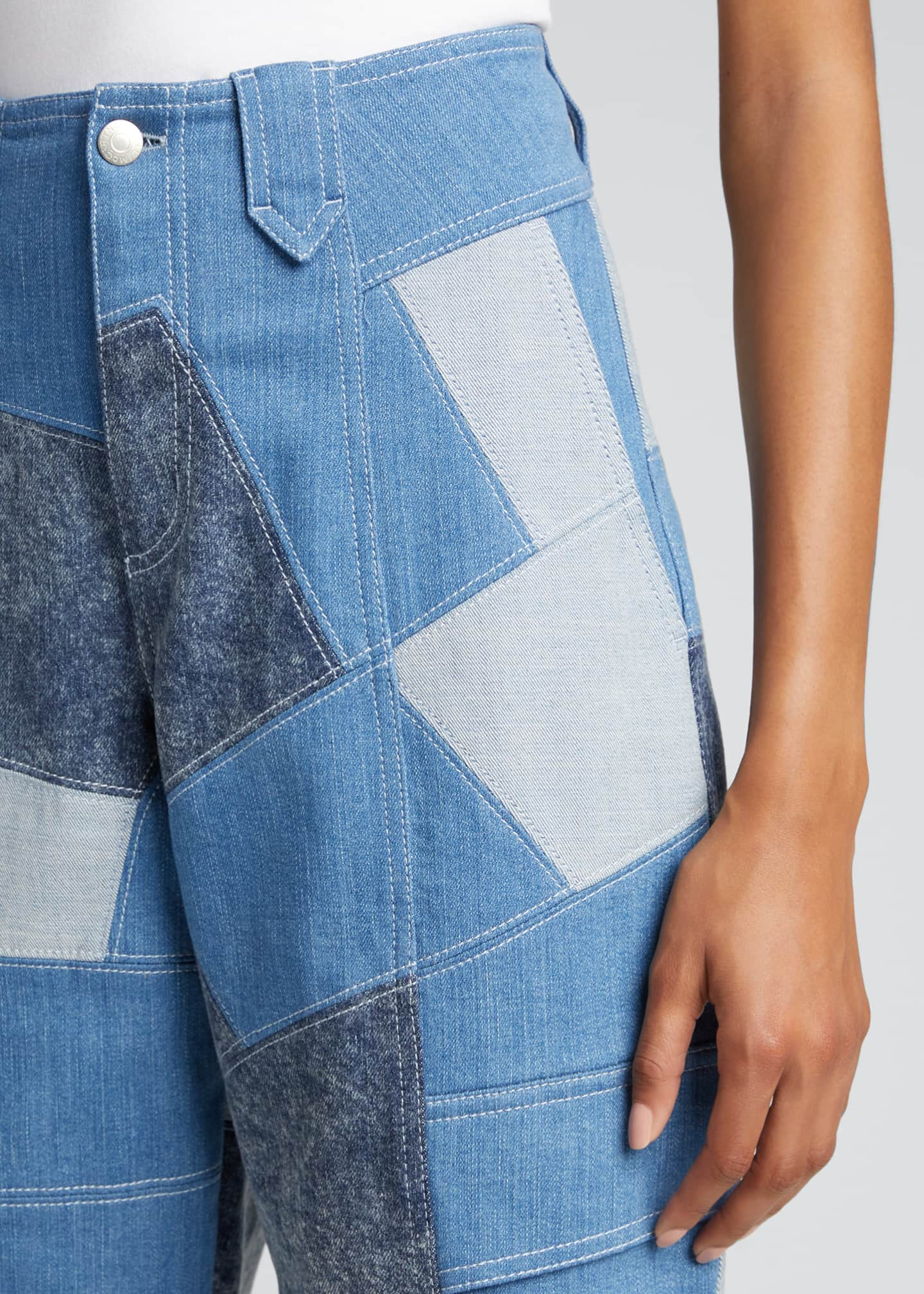 Image 4 of 5: Patchwork Safari Cropped Denim Pant