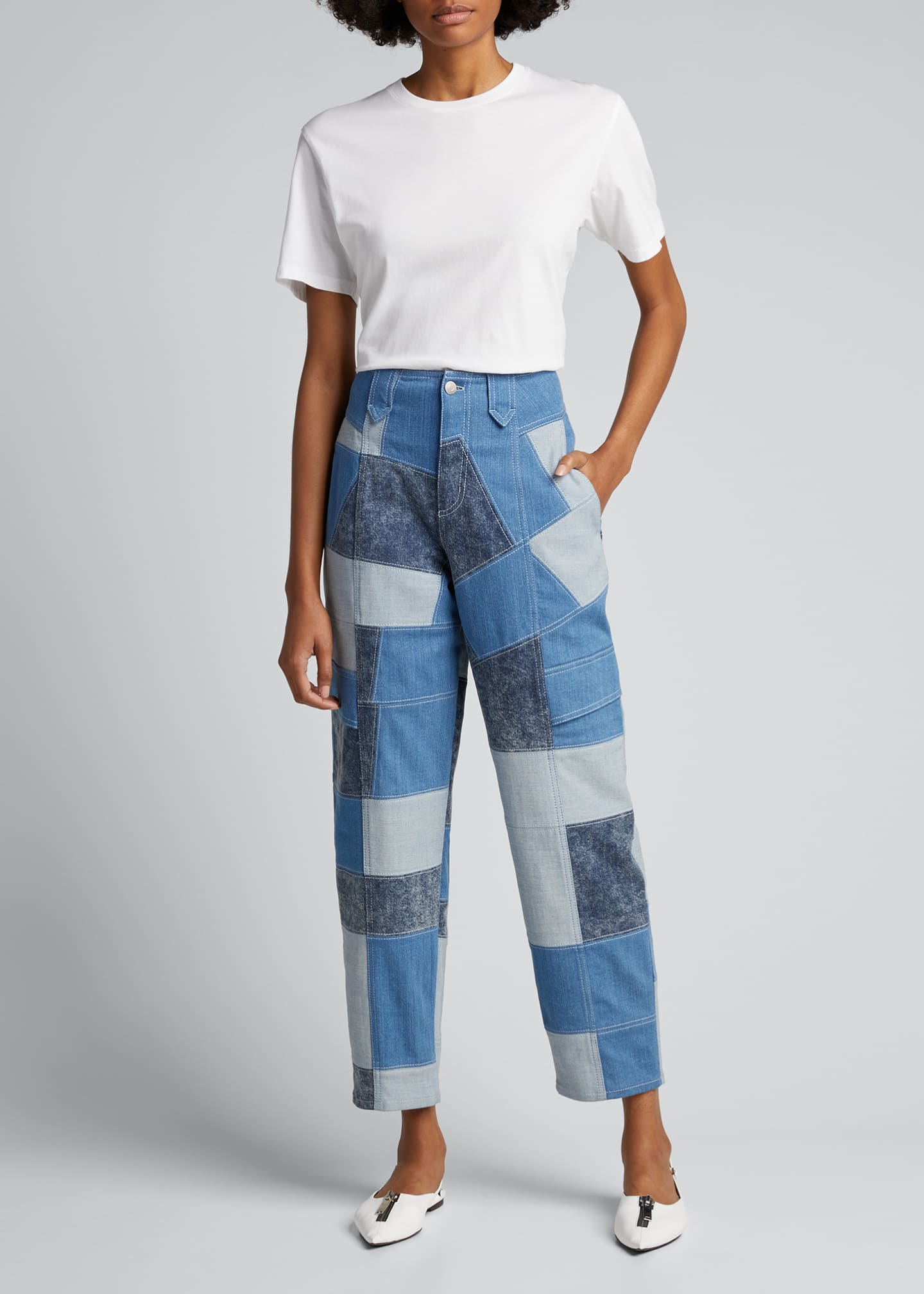 Image 1 of 5: Patchwork Safari Cropped Denim Pant