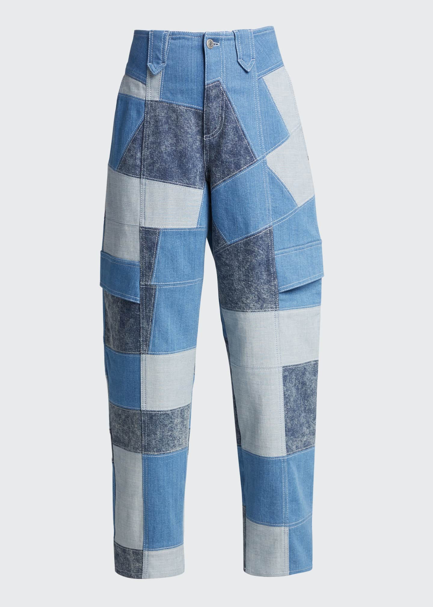 Image 5 of 5: Patchwork Safari Cropped Denim Pant