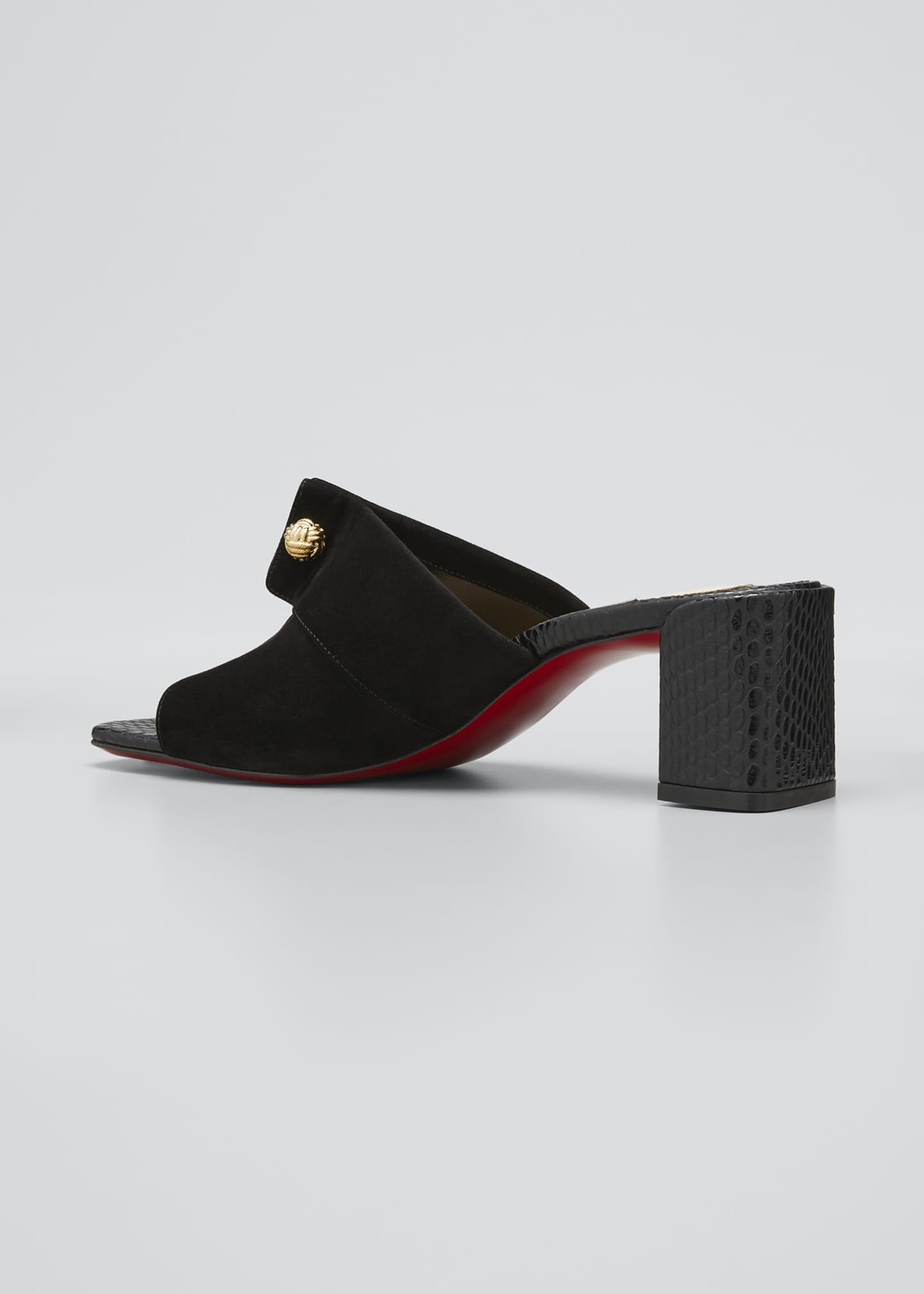 Image 2 of 3: Suede Red Sole Mule Sandals