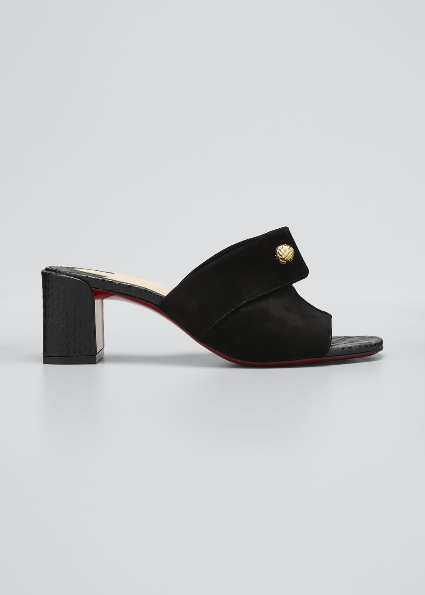 Image 1 of 3: Suede Red Sole Mule Sandals