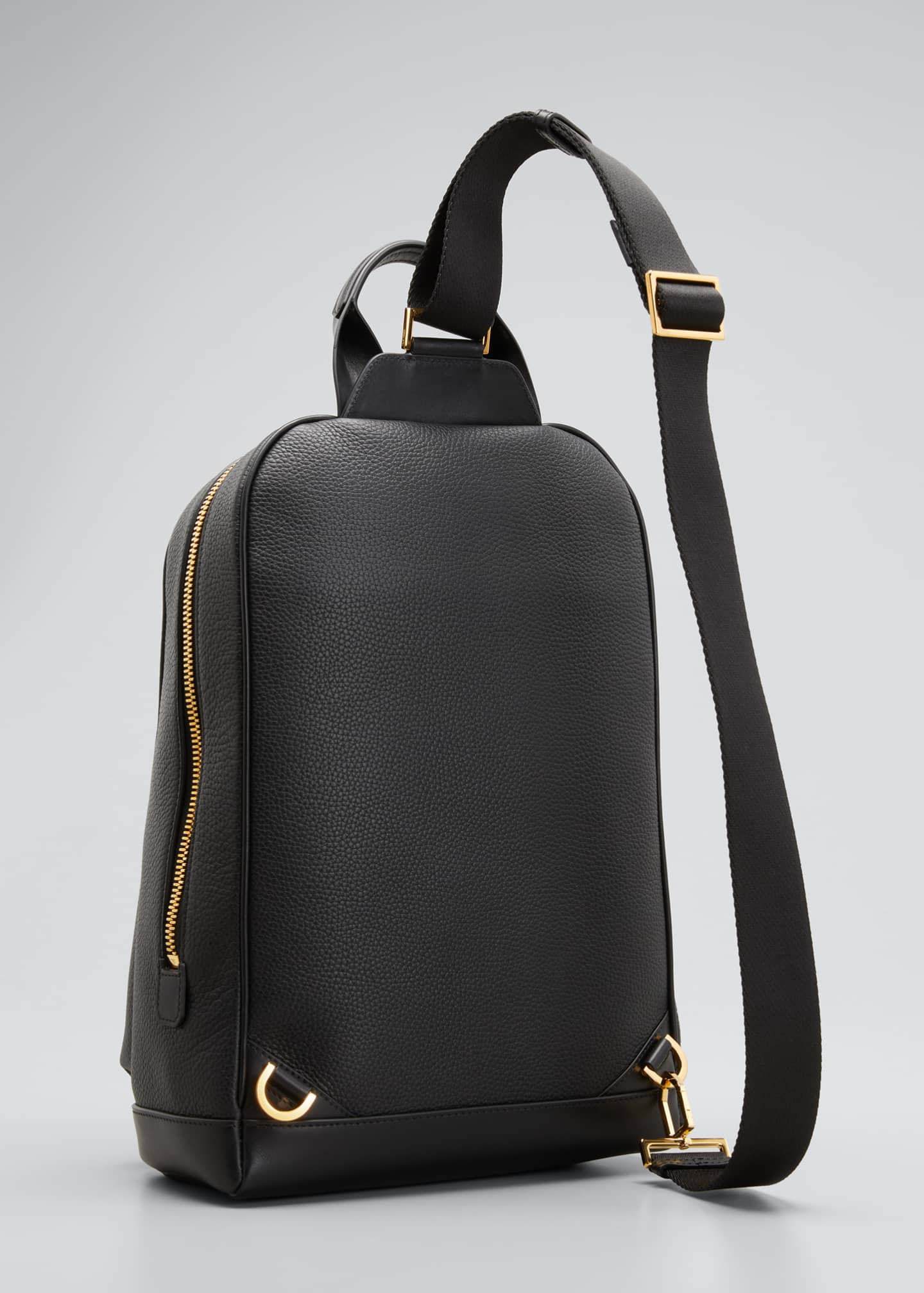 Image 3 of 5: Men's Large Calf Leather Backpack, Black