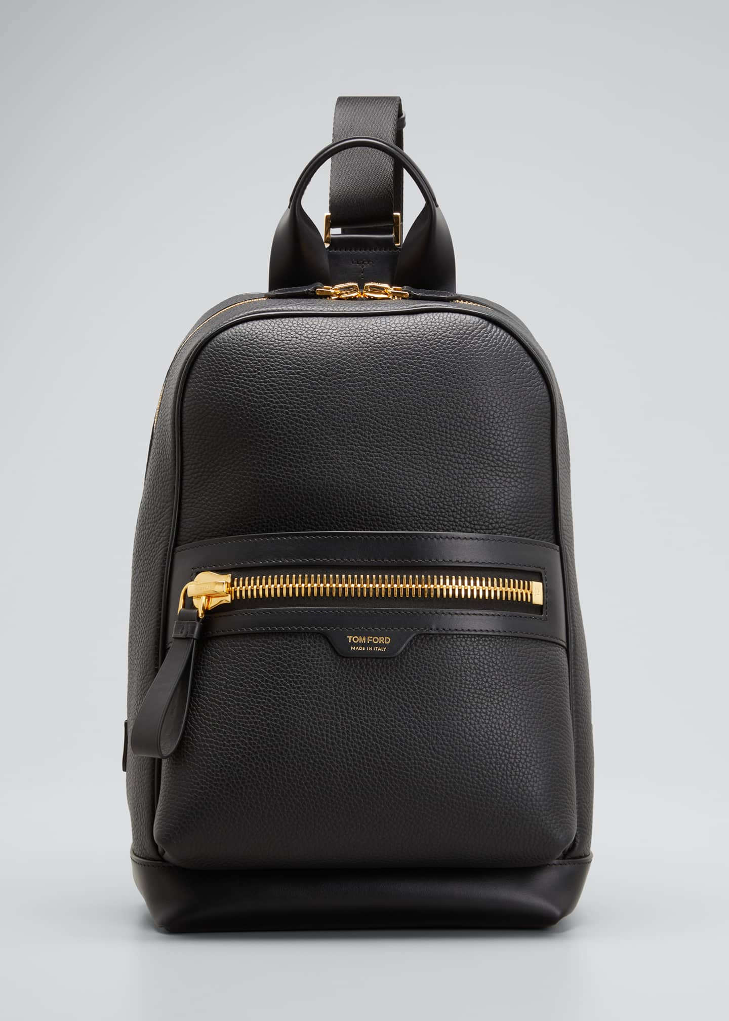 Image 1 of 5: Men's Large Calf Leather Backpack, Black