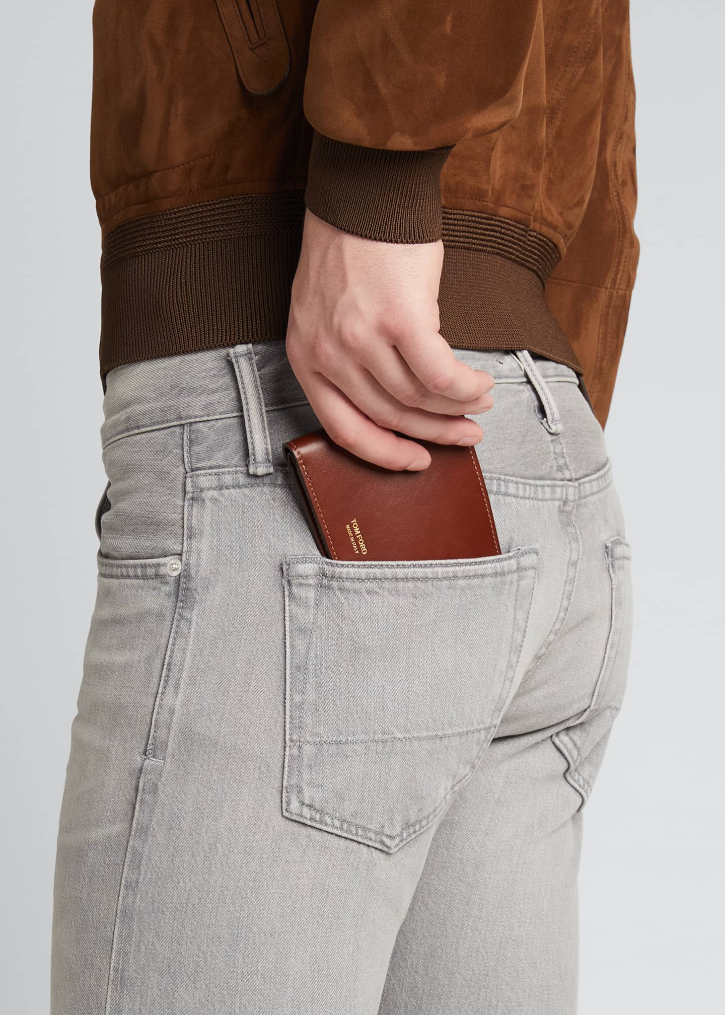 Image 2 of 3: Men's Leather Bi-Fold Wallet with Stitching