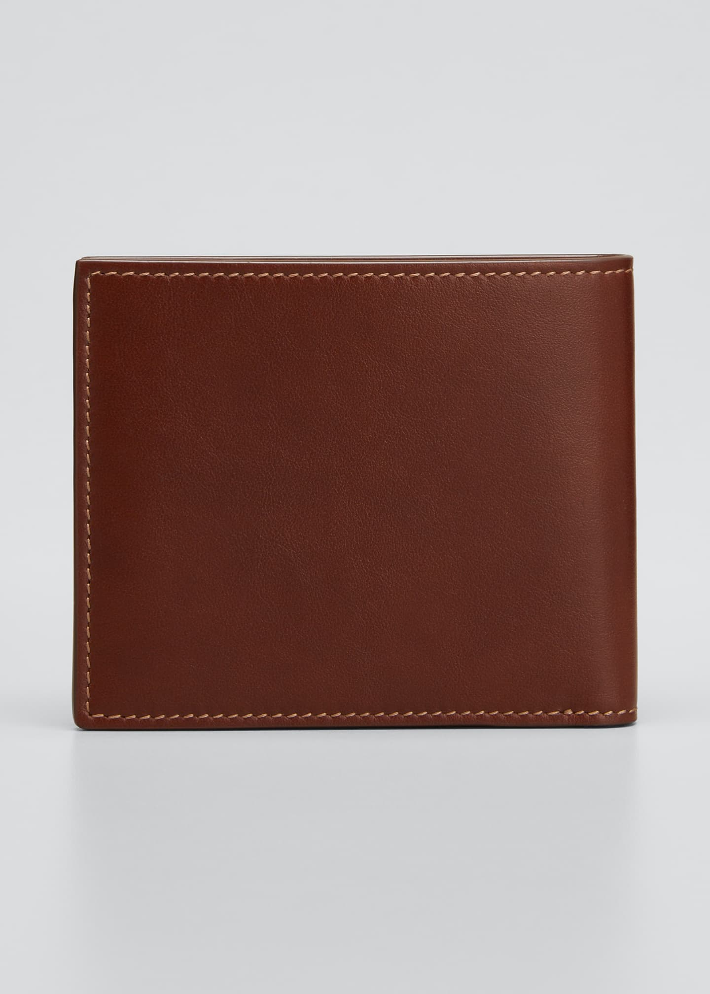 Image 3 of 3: Men's Leather Bi-Fold Wallet with Stitching