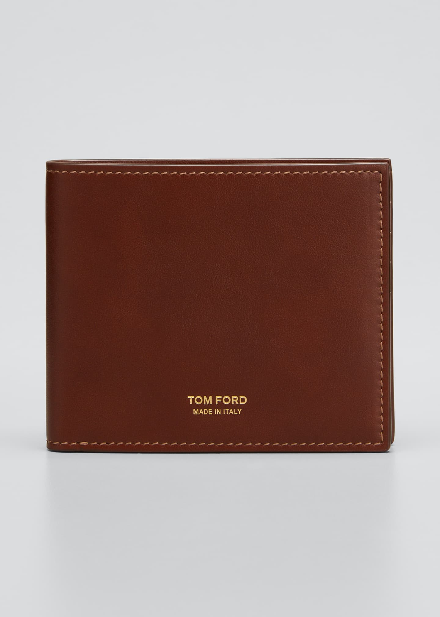 Image 1 of 3: Men's Leather Bi-Fold Wallet with Stitching
