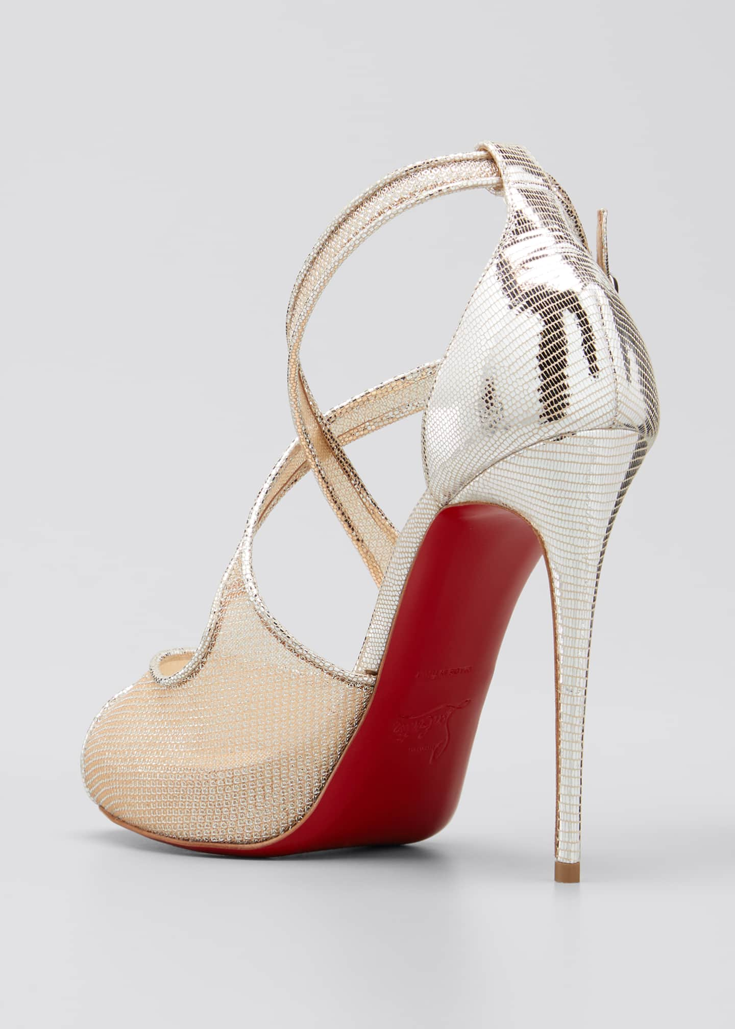 Image 2 of 3: Mariacar 120mm Metallic Red Sole Sandals