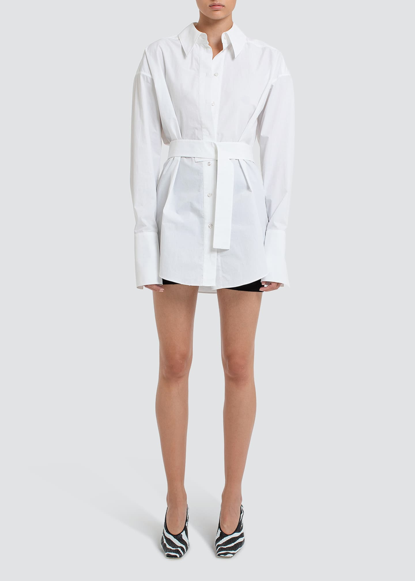 Image 1 of 3: Patras Belted Menswear Shirt Dress