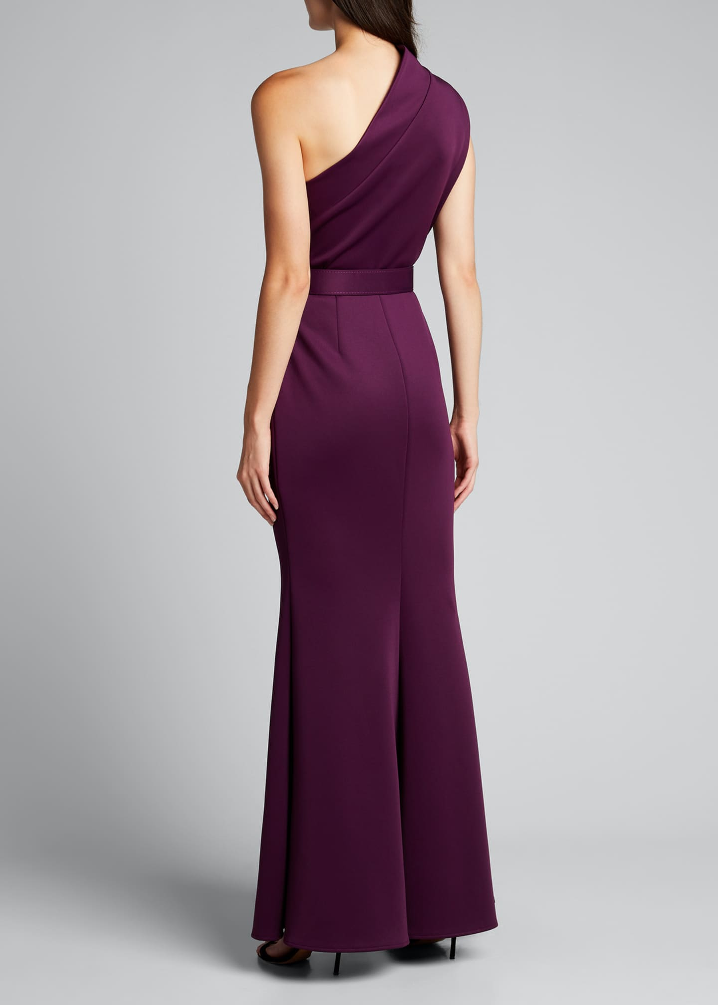 Image 2 of 5: One-Shoulder High-Neck Belted Gown