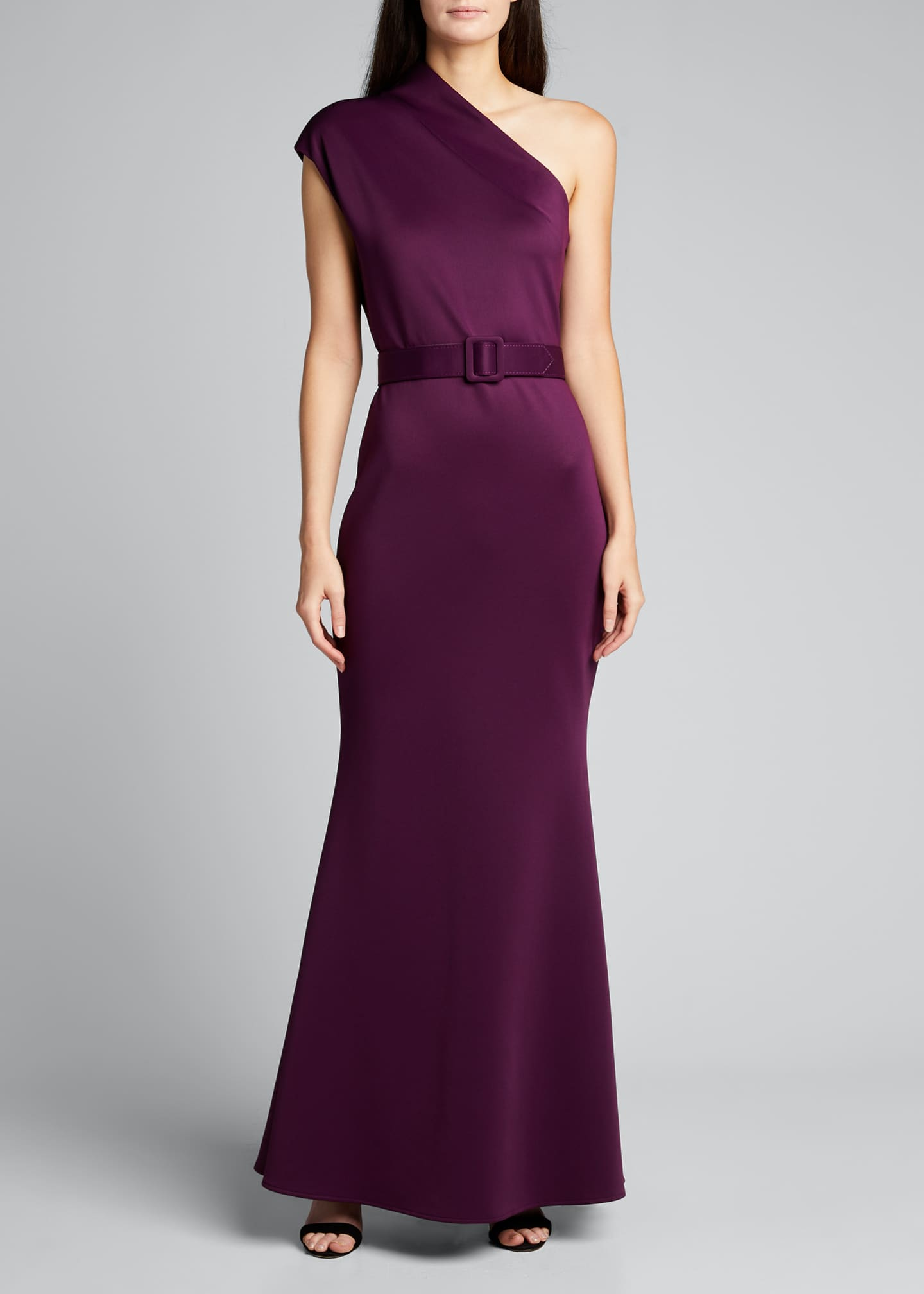 Image 3 of 5: One-Shoulder High-Neck Belted Gown