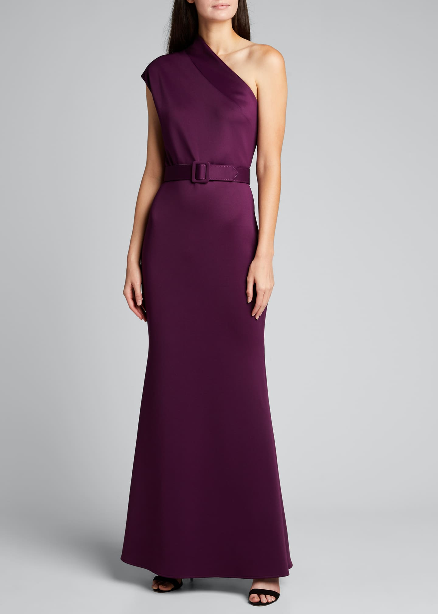 Image 1 of 5: One-Shoulder High-Neck Belted Gown