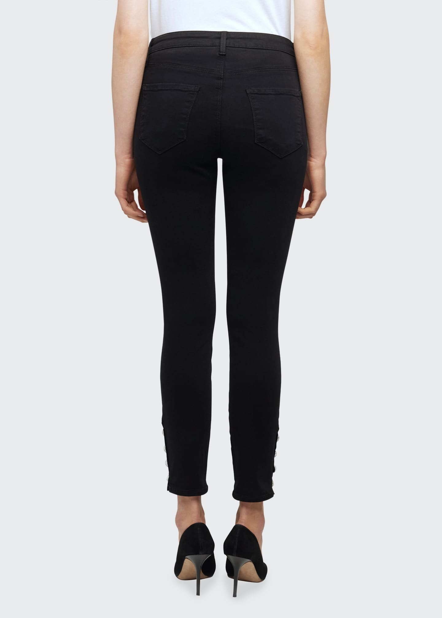 Image 2 of 5: Lindsey Jewel-Button Skinny Jeans