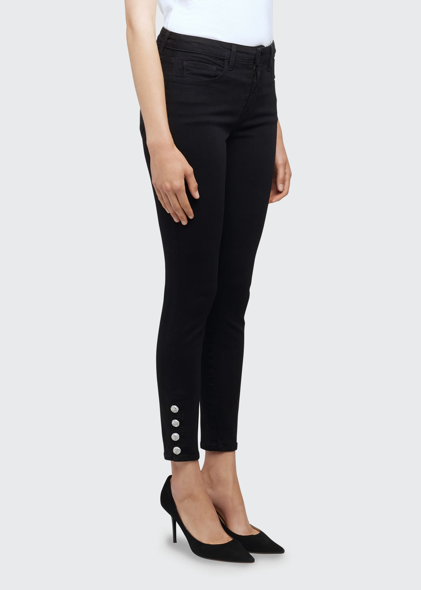Image 3 of 5: Lindsey Jewel-Button Skinny Jeans