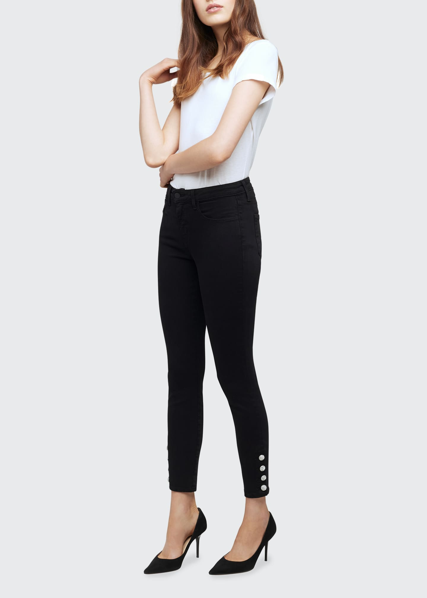 Image 1 of 5: Lindsey Jewel-Button Skinny Jeans
