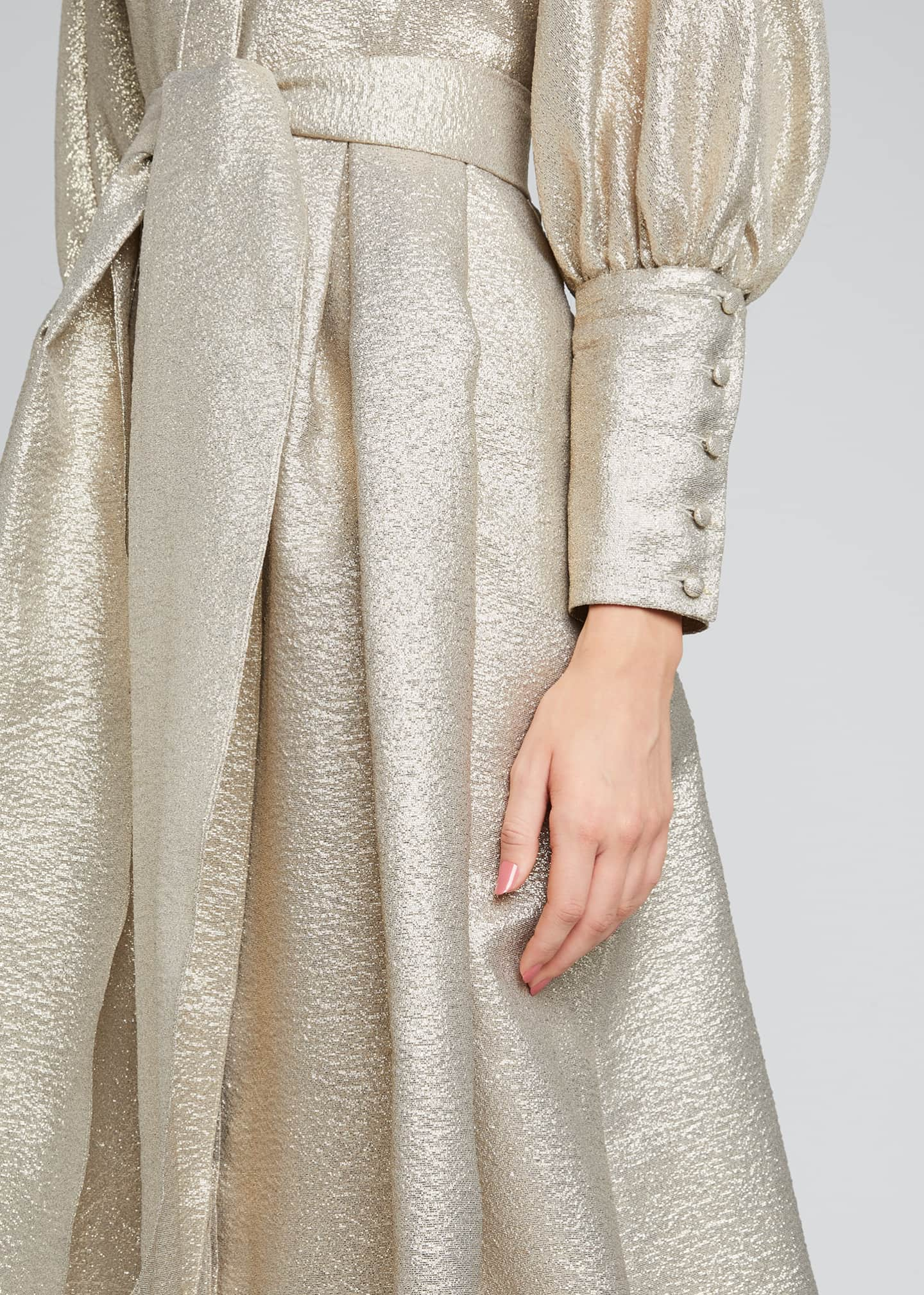 Image 4 of 5: Metallic Jacquard Bishop-Sleeve Shirtdress
