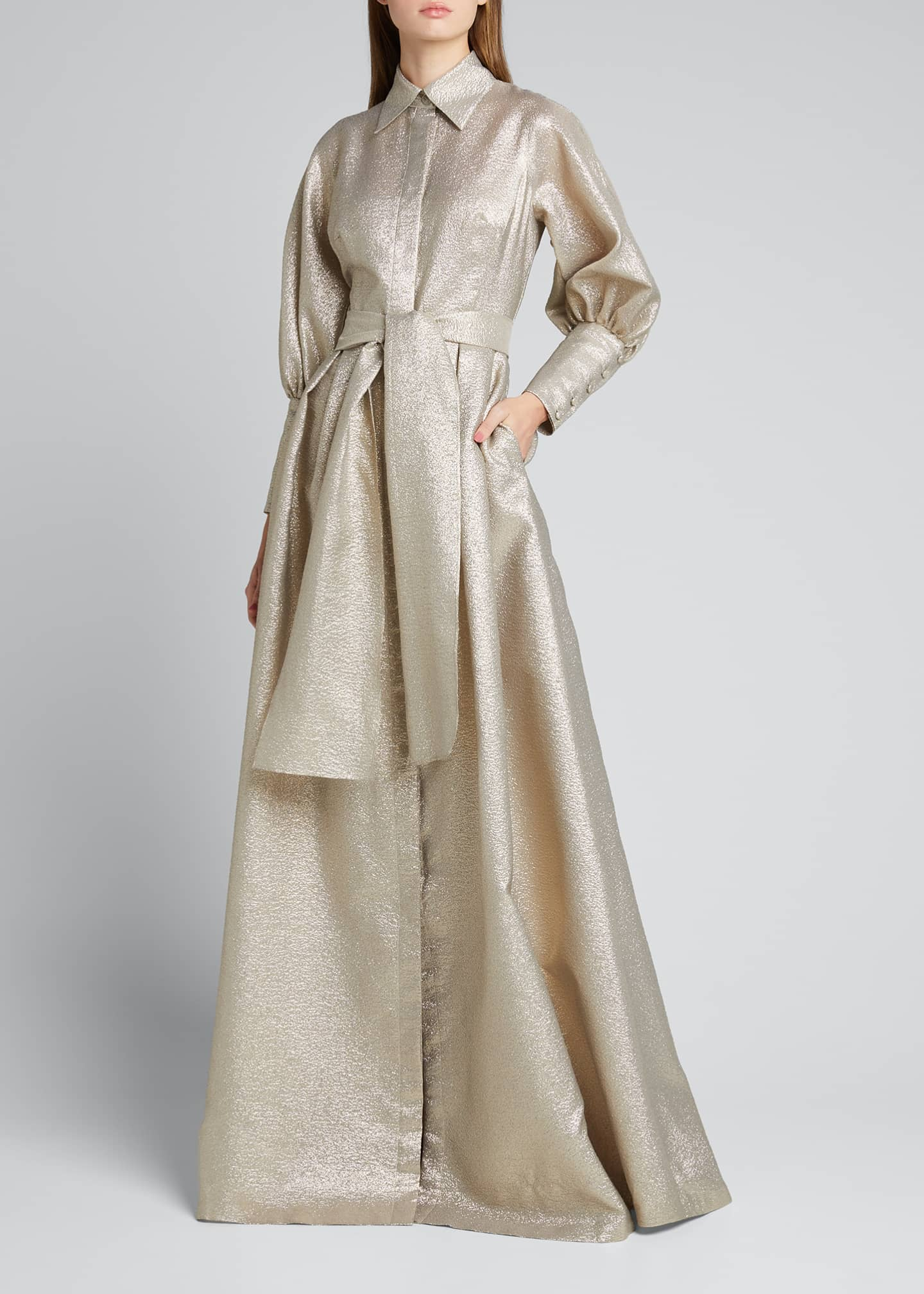 Image 1 of 5: Metallic Jacquard Bishop-Sleeve Shirtdress