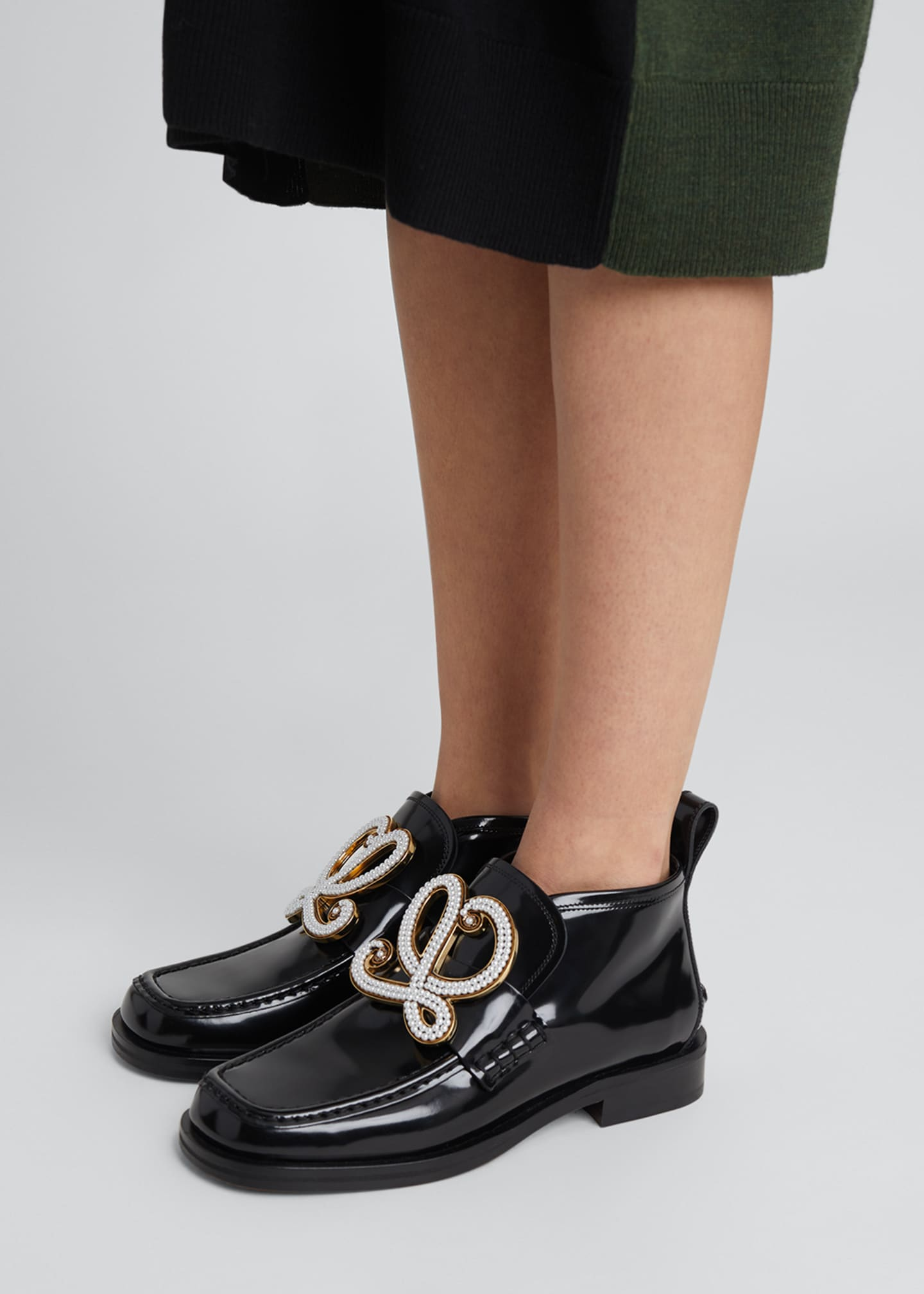 Image 2 of 4: Patent Leather High-Top Medallion Loafers