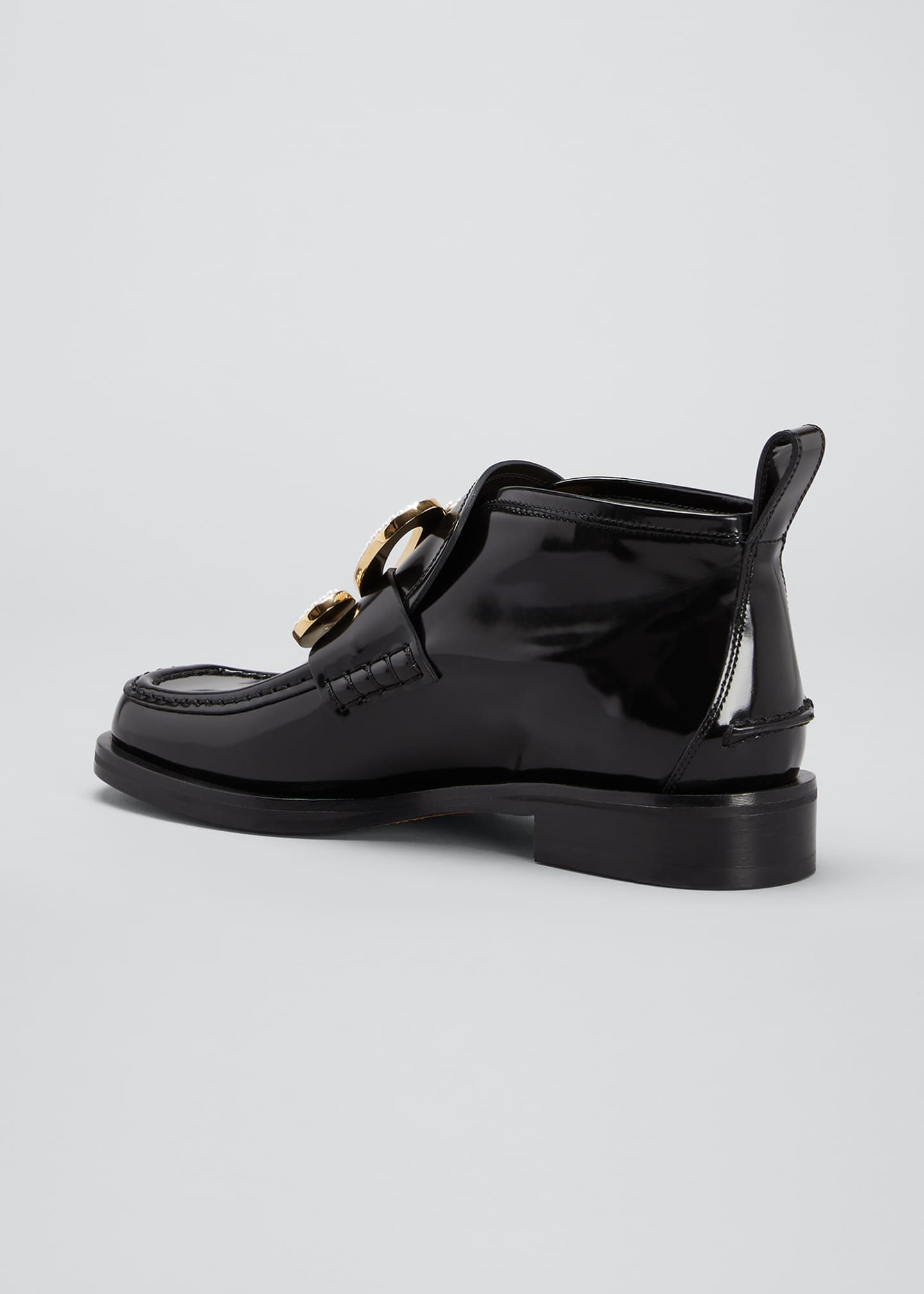 Image 3 of 4: Patent Leather High-Top Medallion Loafers