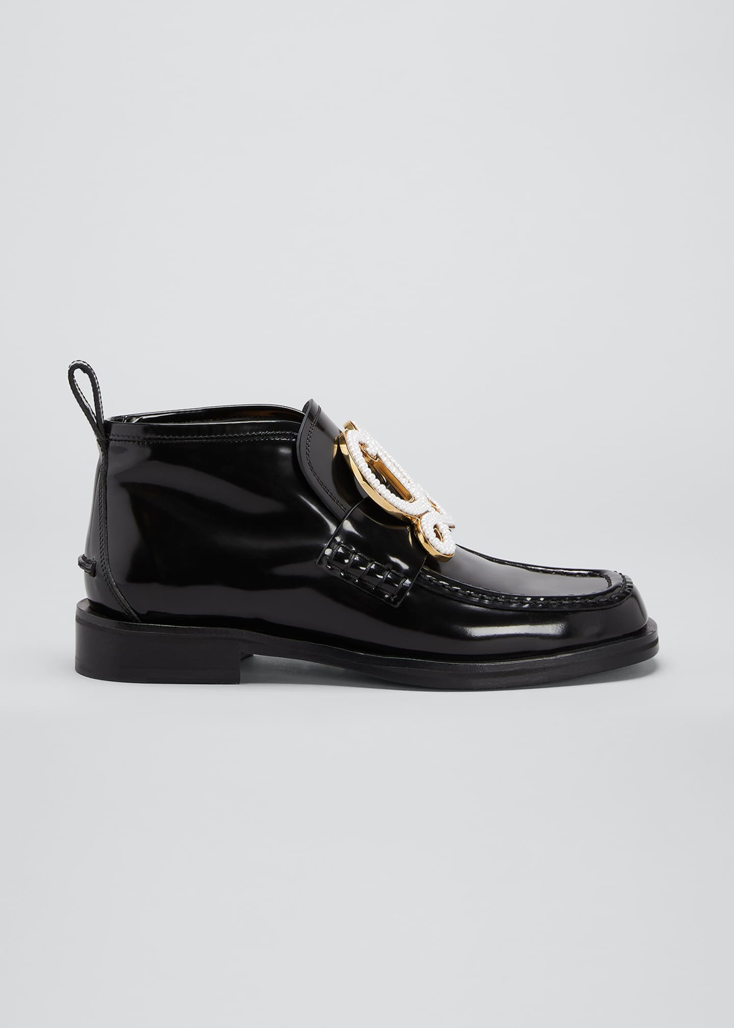 Image 1 of 4: Patent Leather High-Top Medallion Loafers