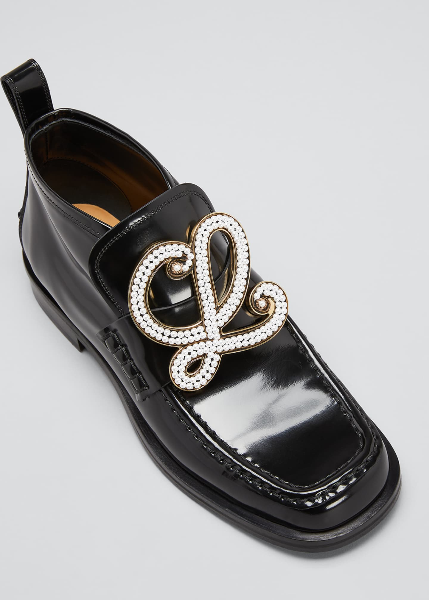 Image 4 of 4: Patent Leather High-Top Medallion Loafers