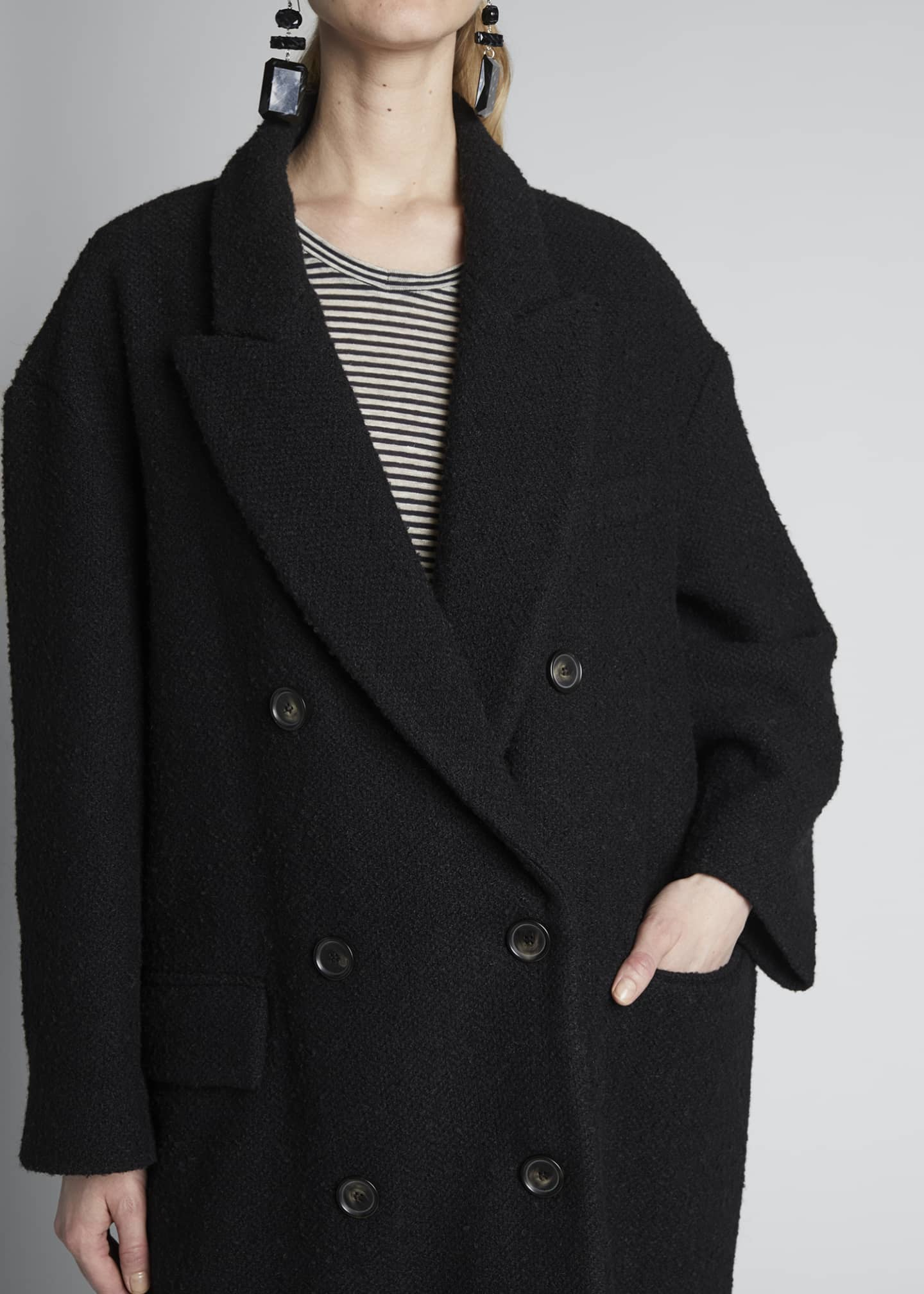Image 3 of 4: Ojima Wool Double-Breasted Coat