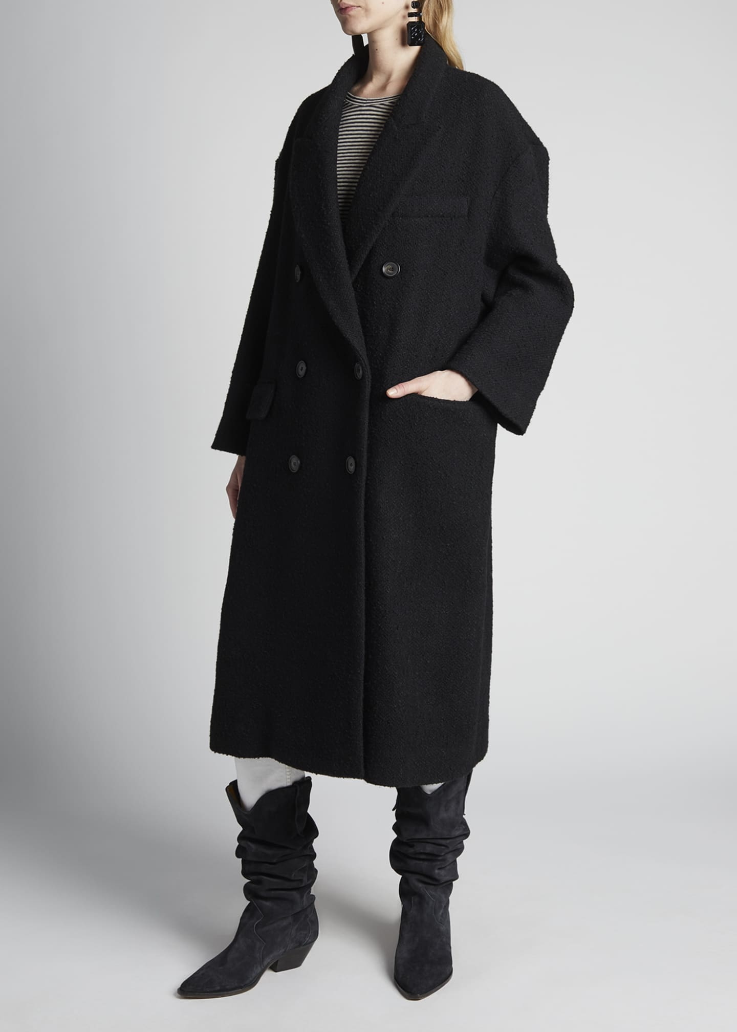 Image 4 of 4: Ojima Wool Double-Breasted Coat