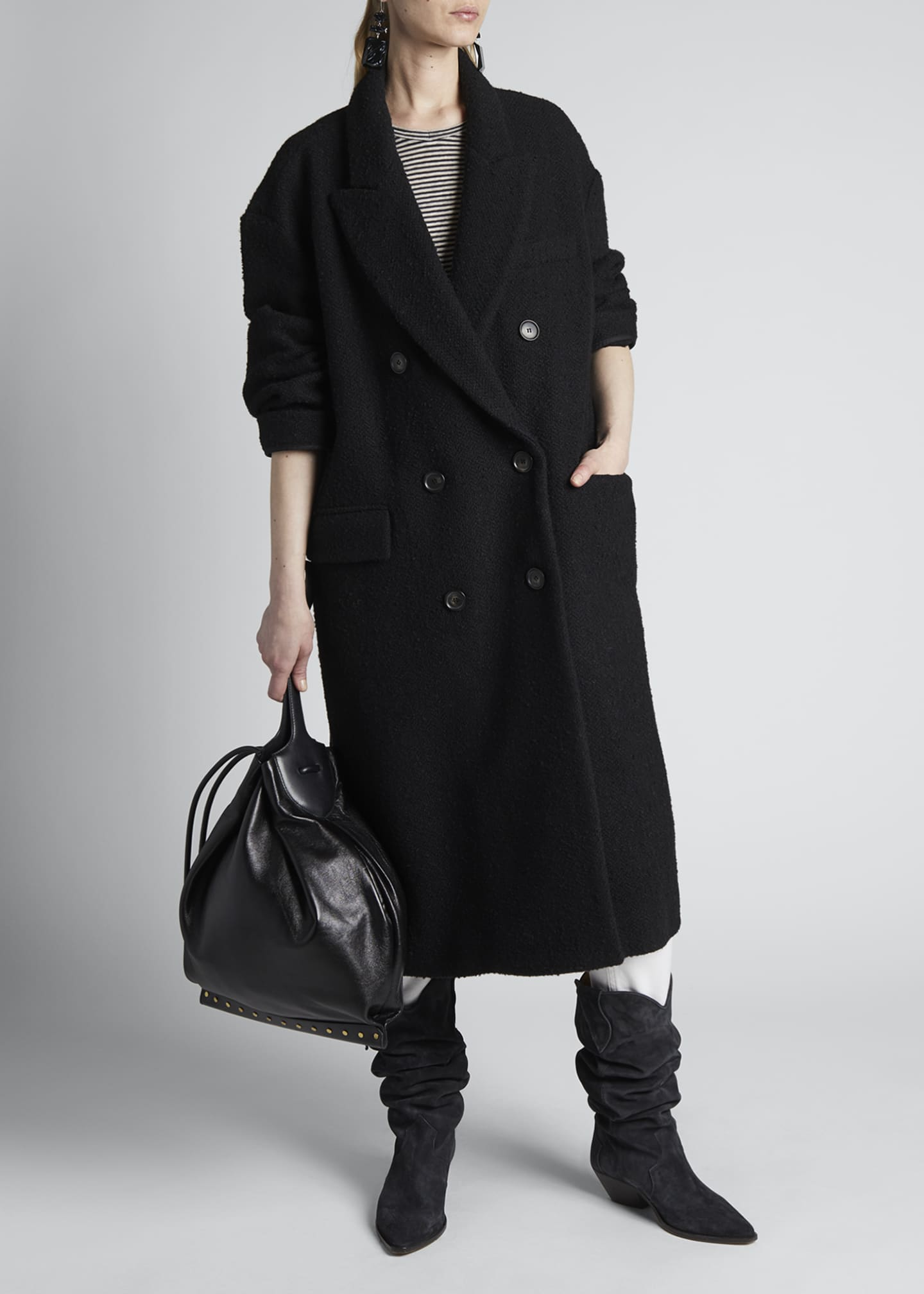 Image 1 of 4: Ojima Wool Double-Breasted Coat
