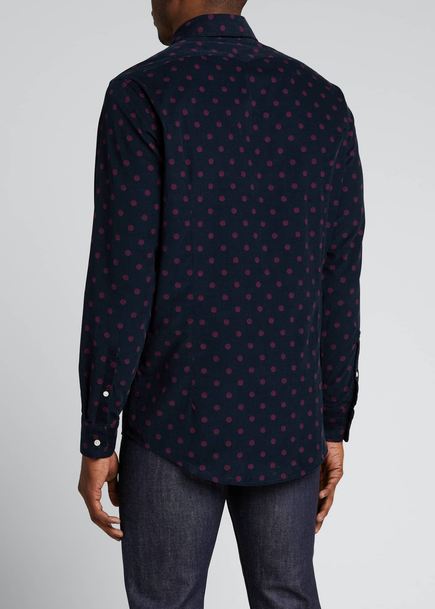 Image 2 of 5: Men's Genova Baby Corduroy Polka-Dot Shirt