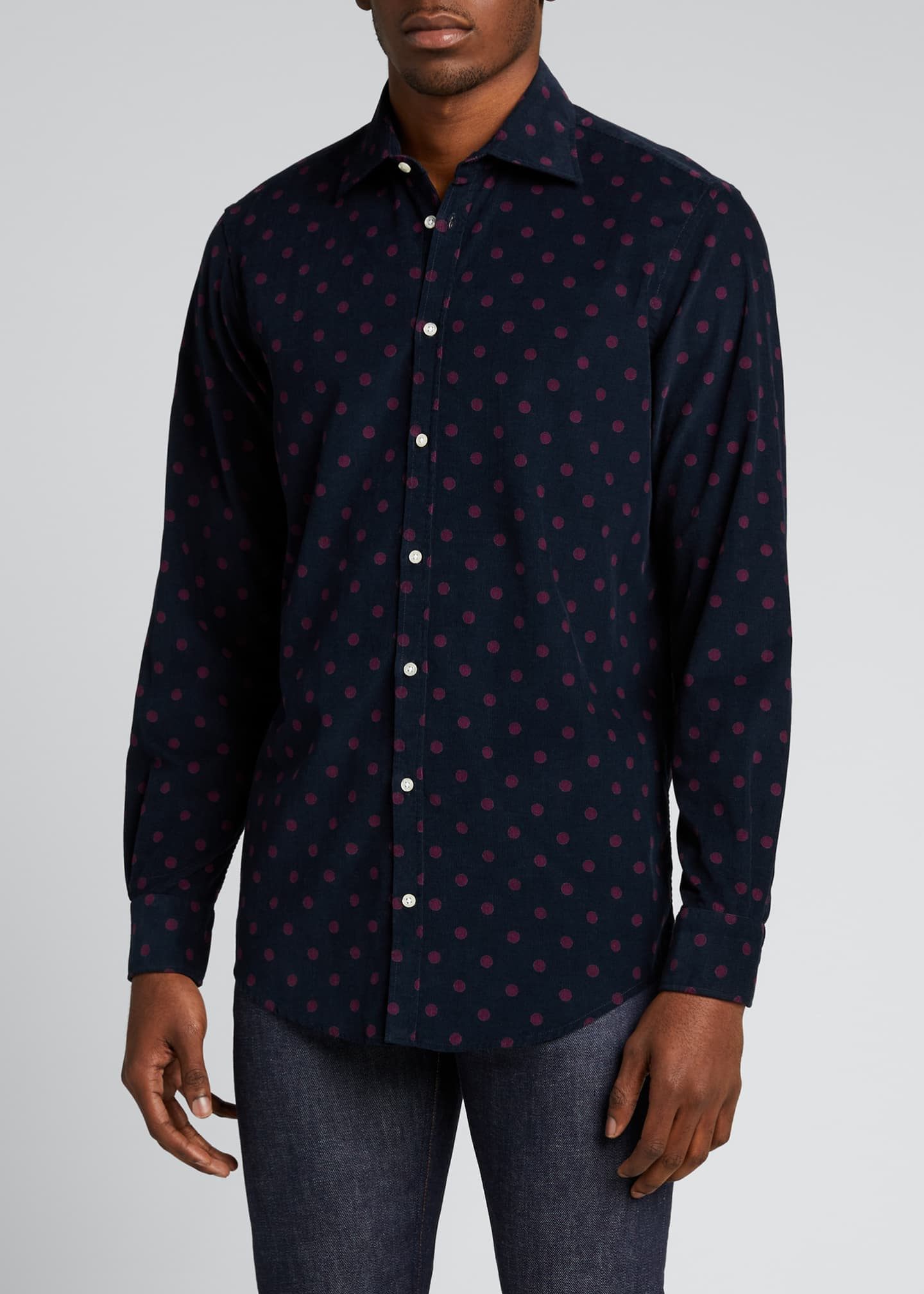 Image 3 of 5: Men's Genova Baby Corduroy Polka-Dot Shirt