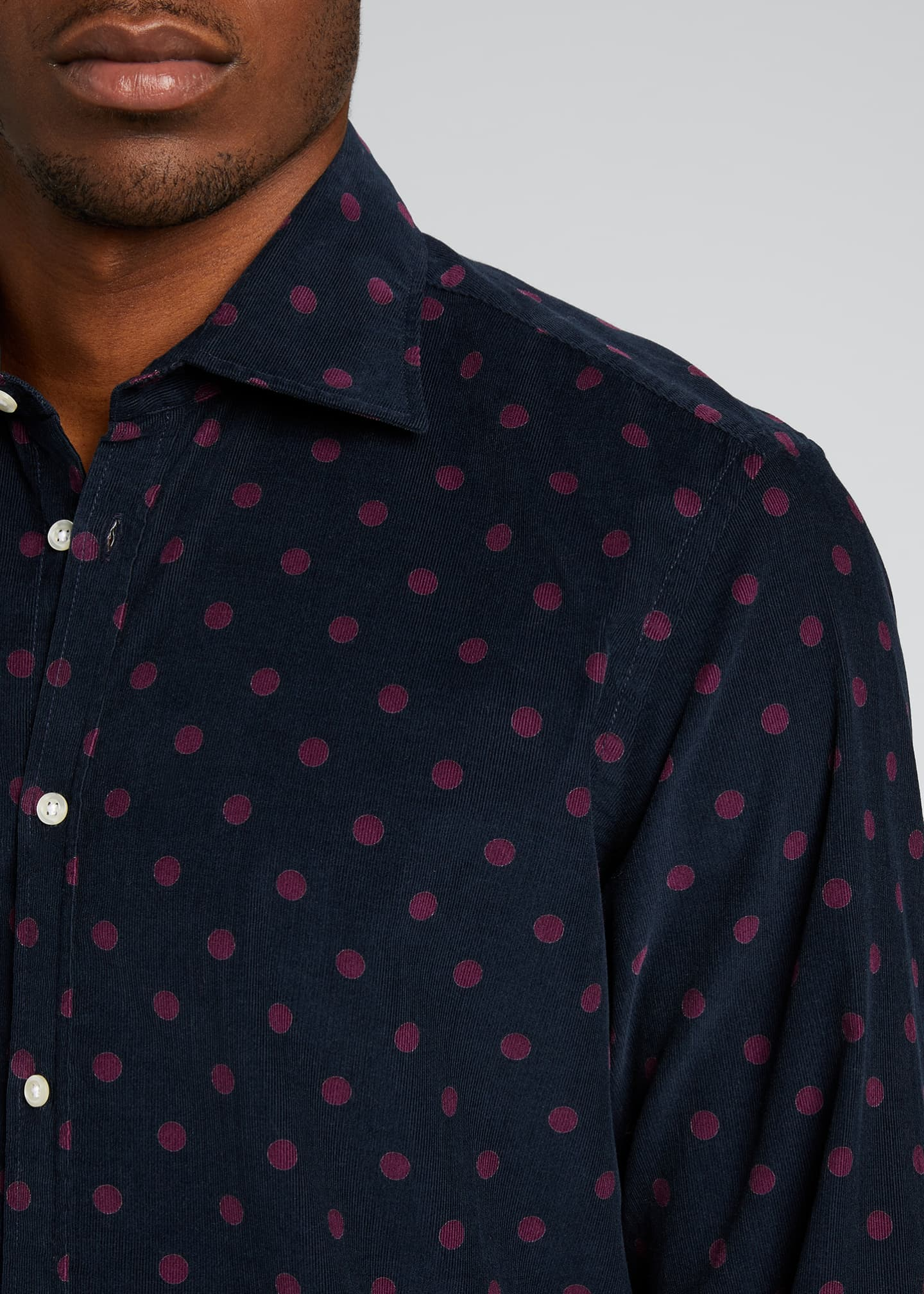 Image 4 of 5: Men's Genova Baby Corduroy Polka-Dot Shirt