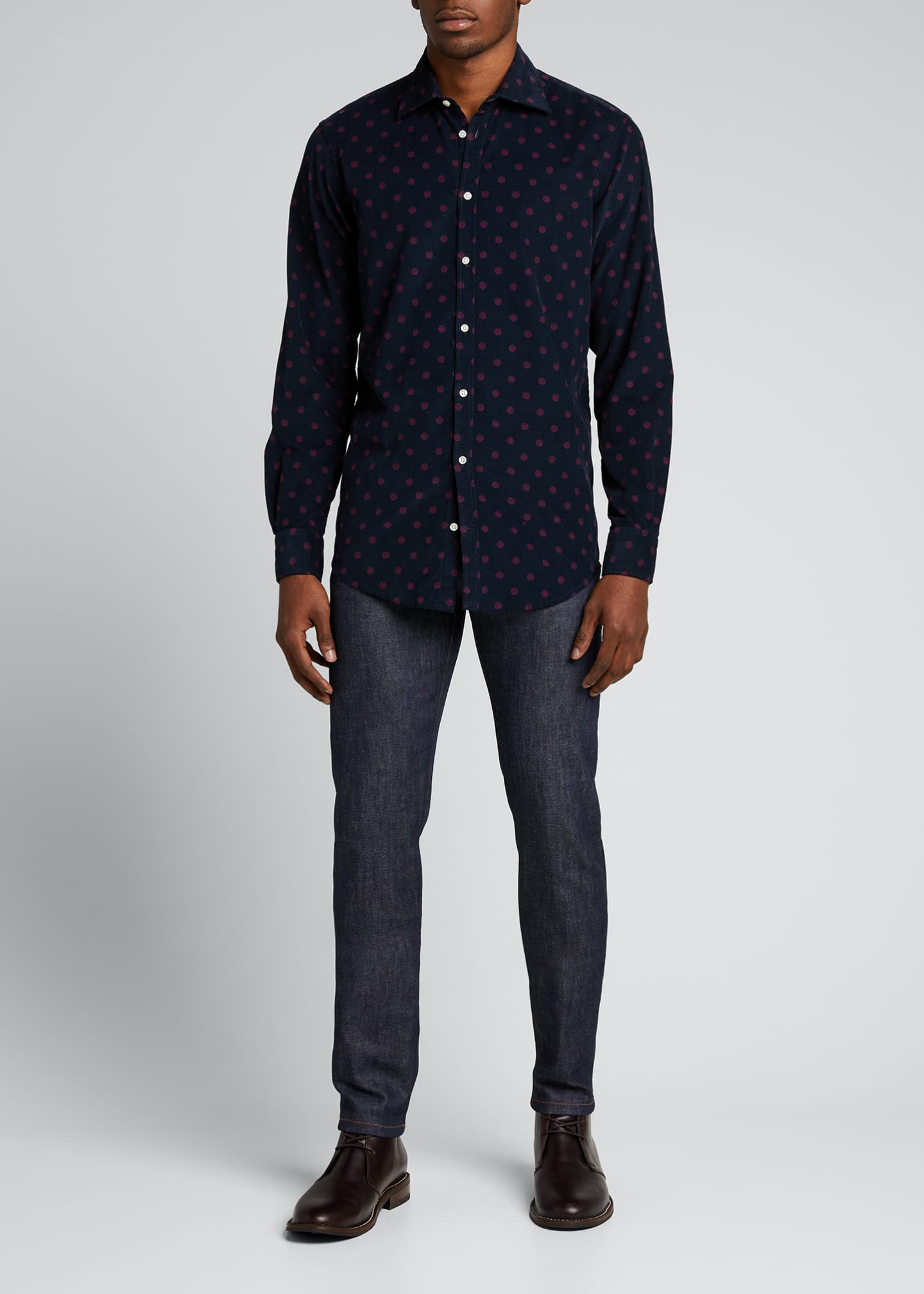Image 1 of 5: Men's Genova Baby Corduroy Polka-Dot Shirt