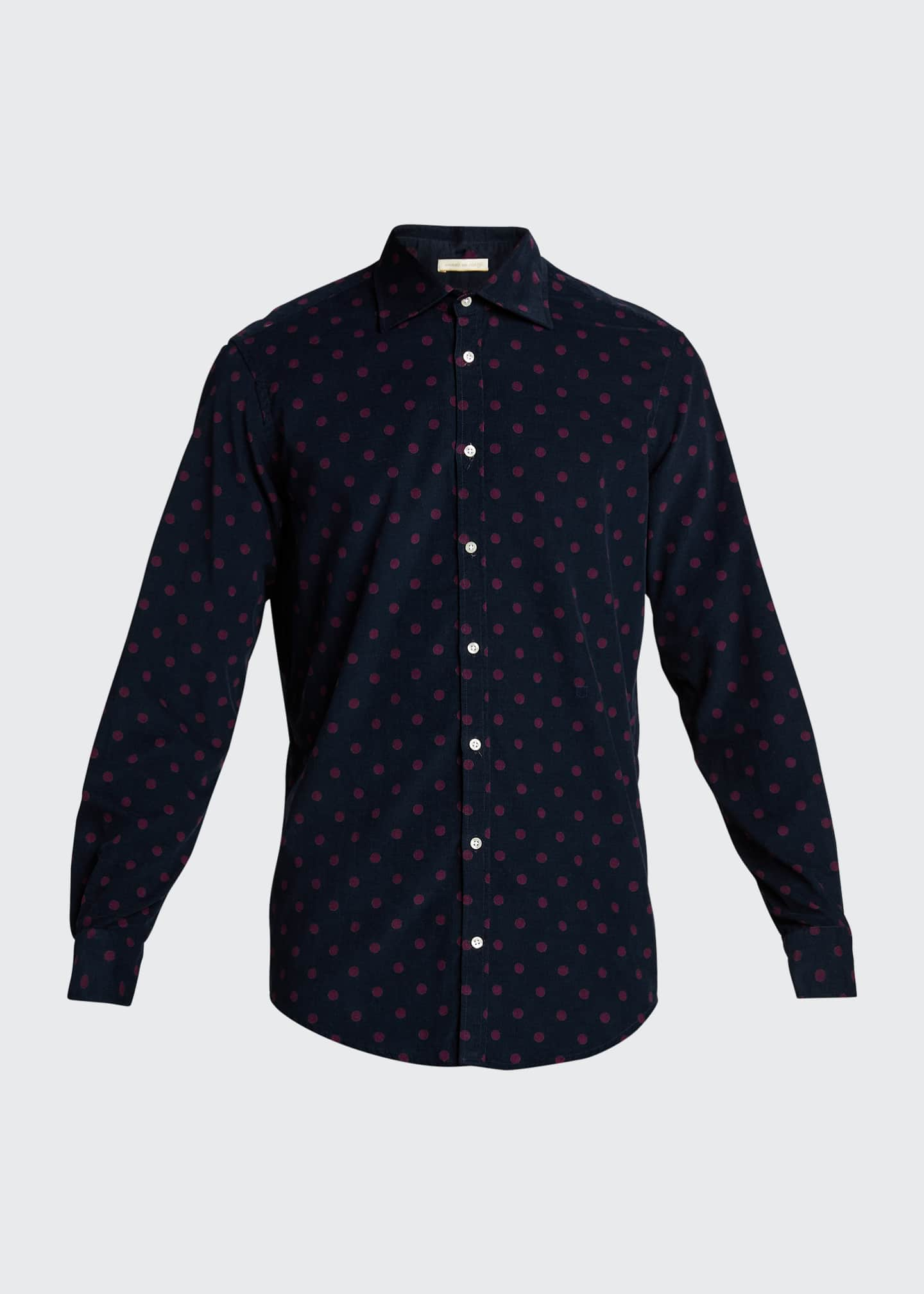 Image 5 of 5: Men's Genova Baby Corduroy Polka-Dot Shirt