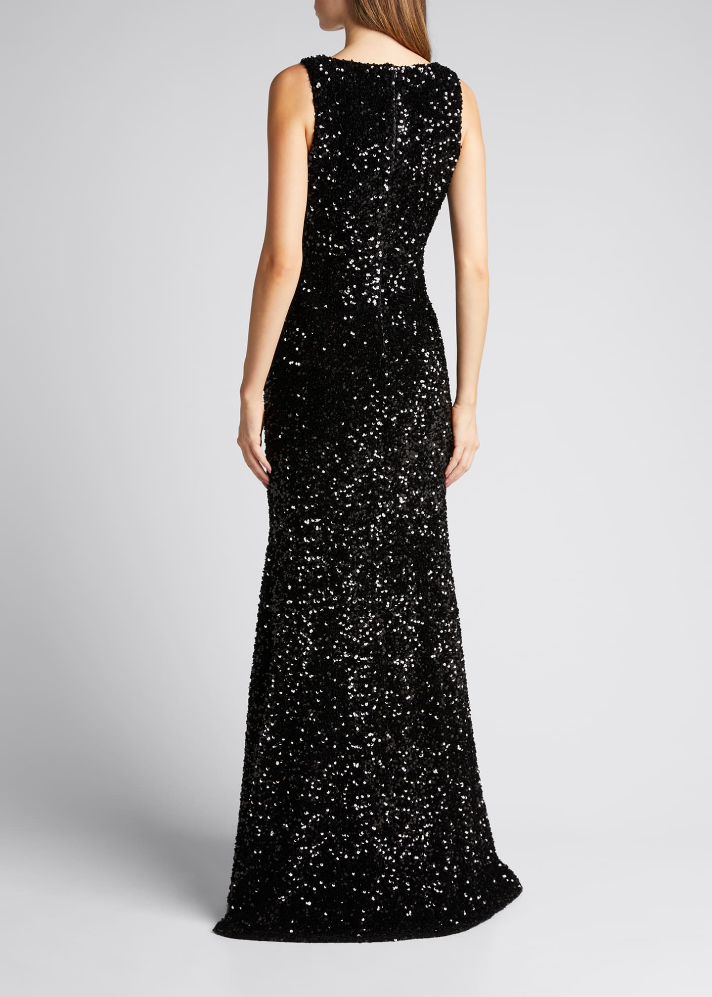 Image 2 of 5: Sequined Velvet Sleeveless Front Slit Trumpet Gown