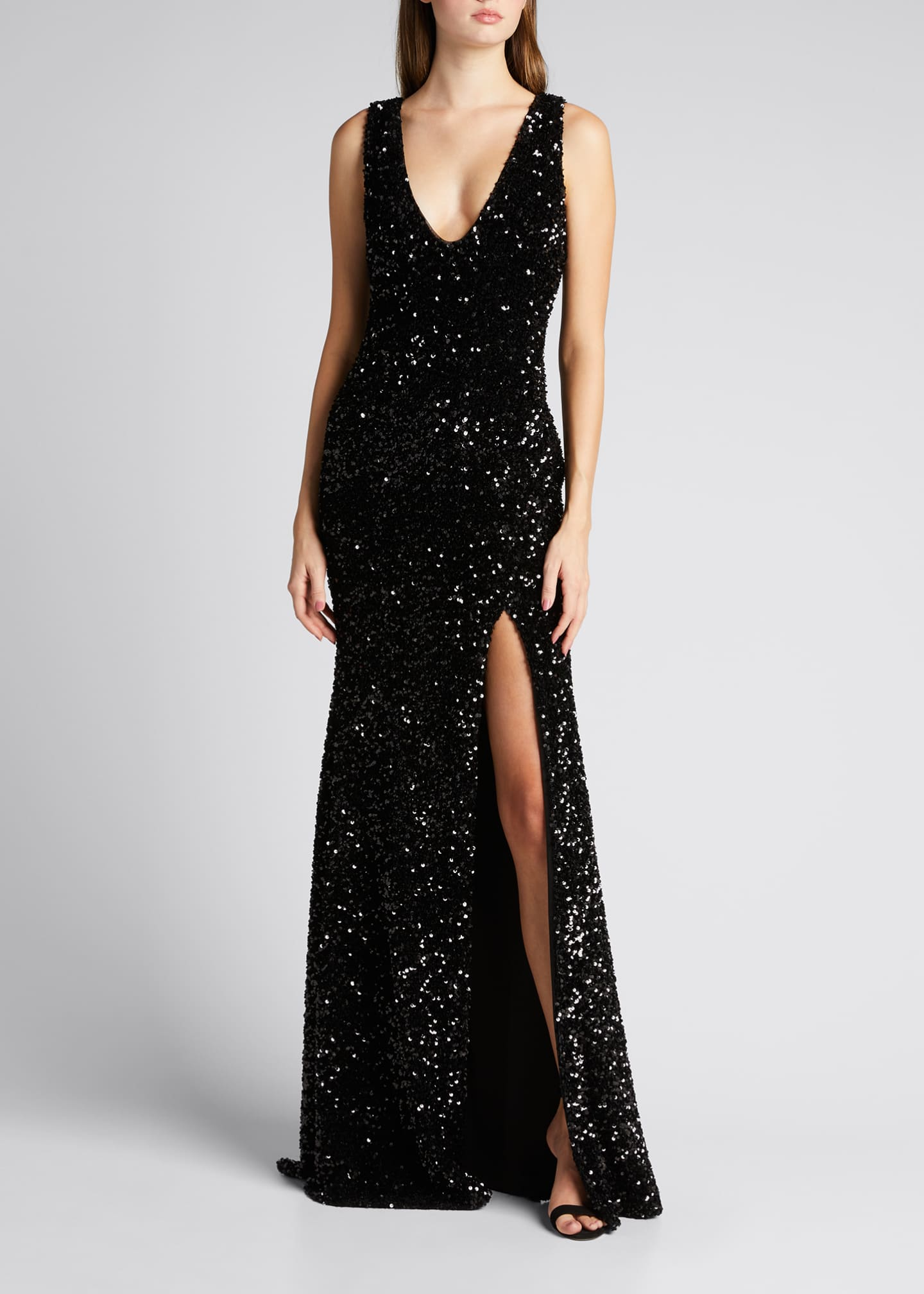 Image 1 of 5: Sequined Velvet Sleeveless Front Slit Trumpet Gown